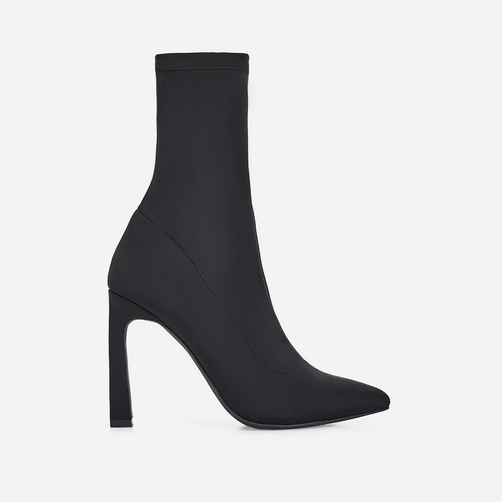 Mackenzie Flared Stiletto Heel Ankle Sock Boot In Black Lycra