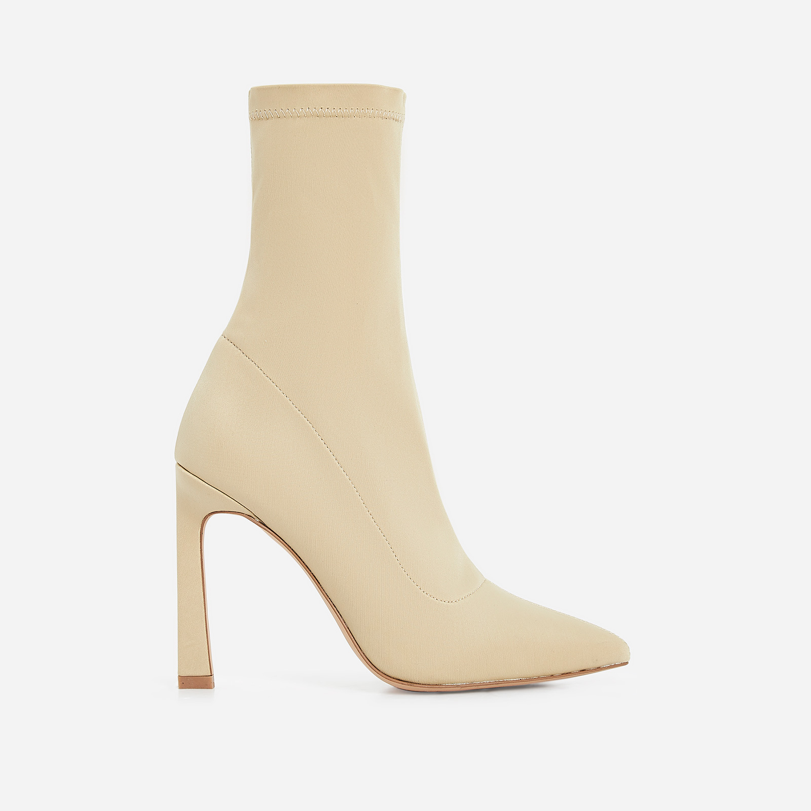 Mackenzie Flared Stiletto Heel Ankle Sock Boot In Nude Lycra