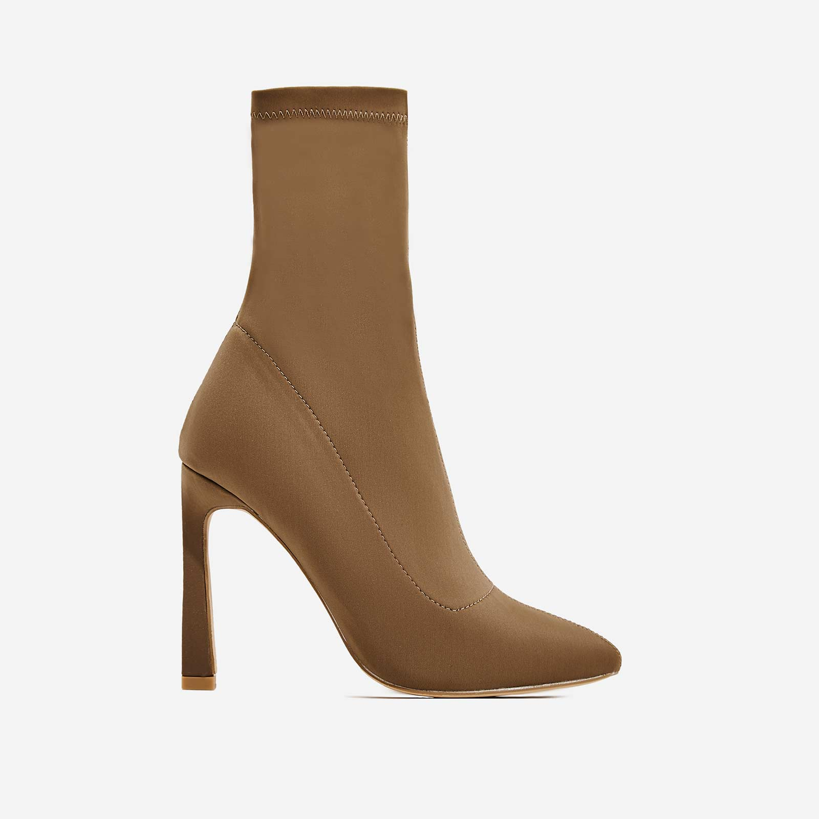 Mackenzie Flared Stiletto Heel Ankle Sock Boot In Khaki Lycra