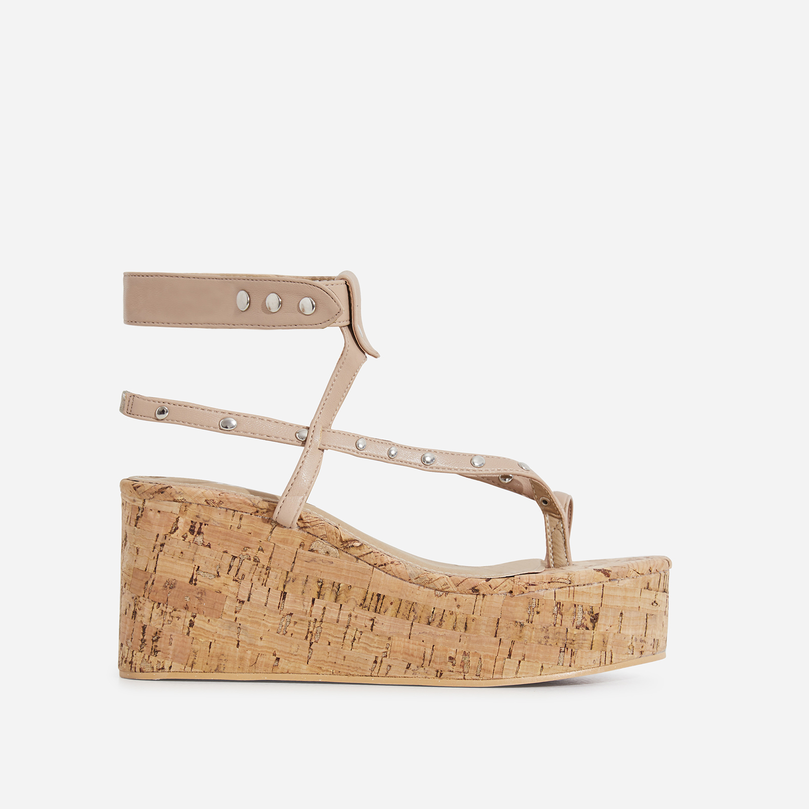 8edd210108a7 Magic Studded Detail Wedge Sandal In Nude Faux Leather