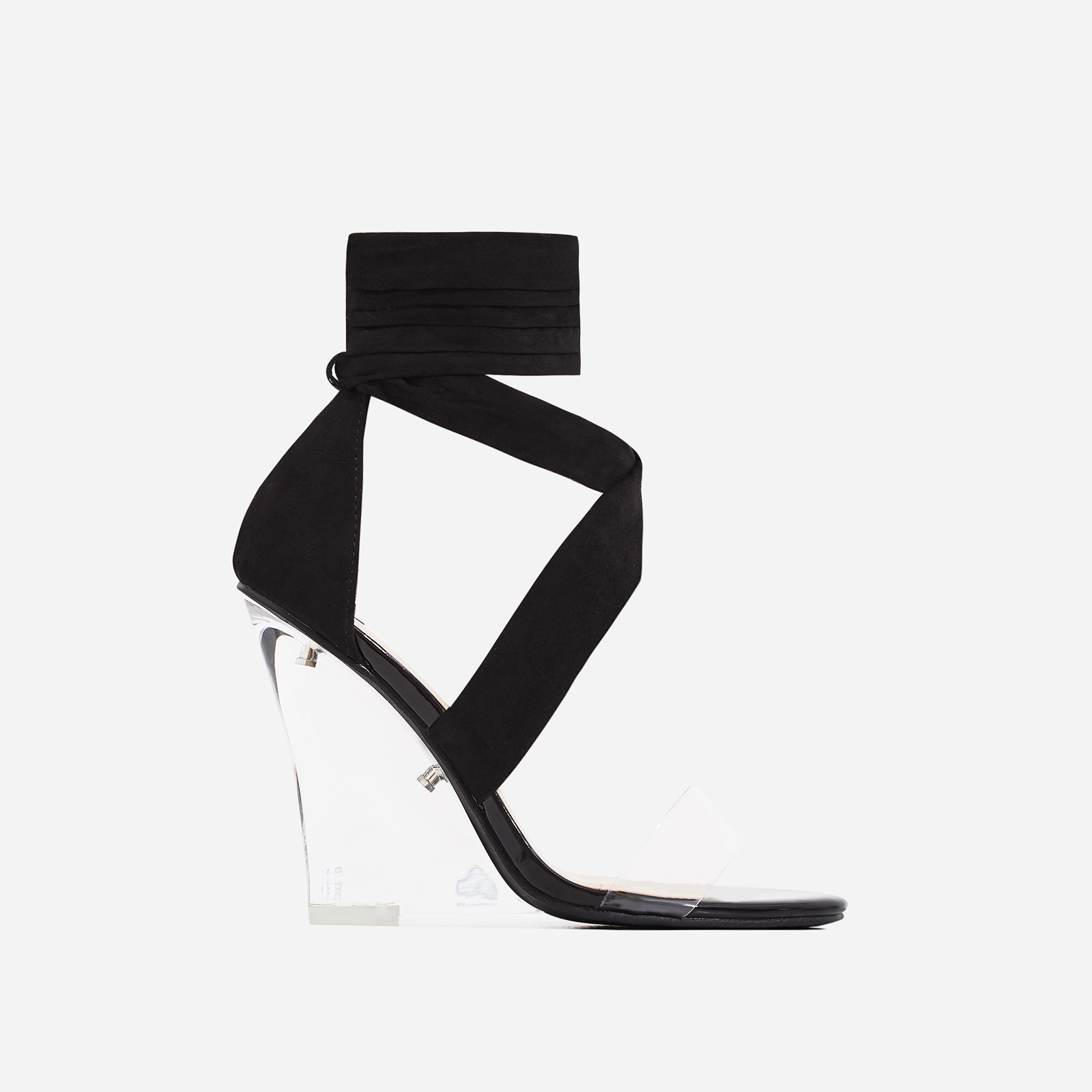 Mai Perspex Wedge Lace Up Heel In Black Faux Suede