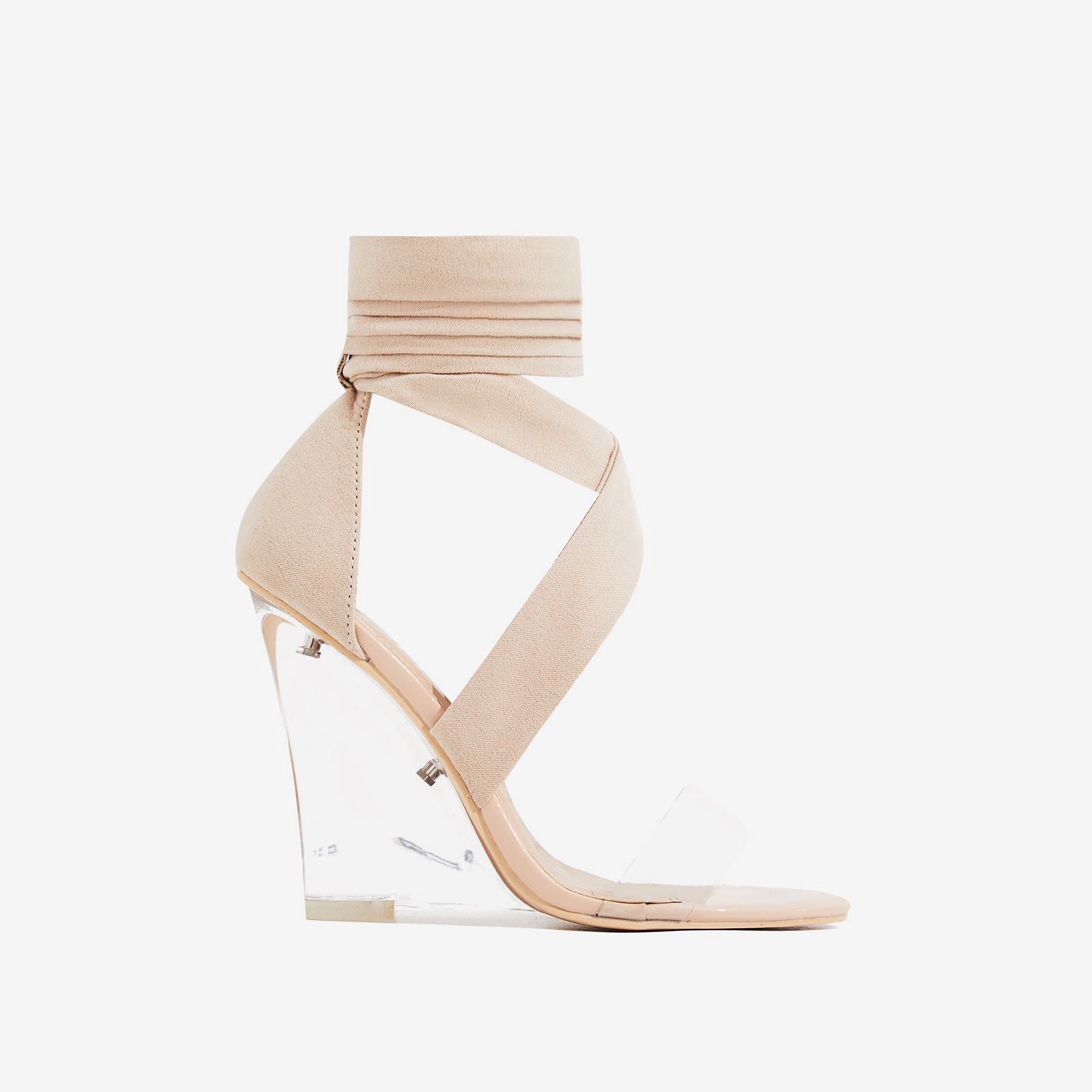 9d39b8272fb9 Mai Perspex Wedge Lace Up Heel In Nude Faux Suede