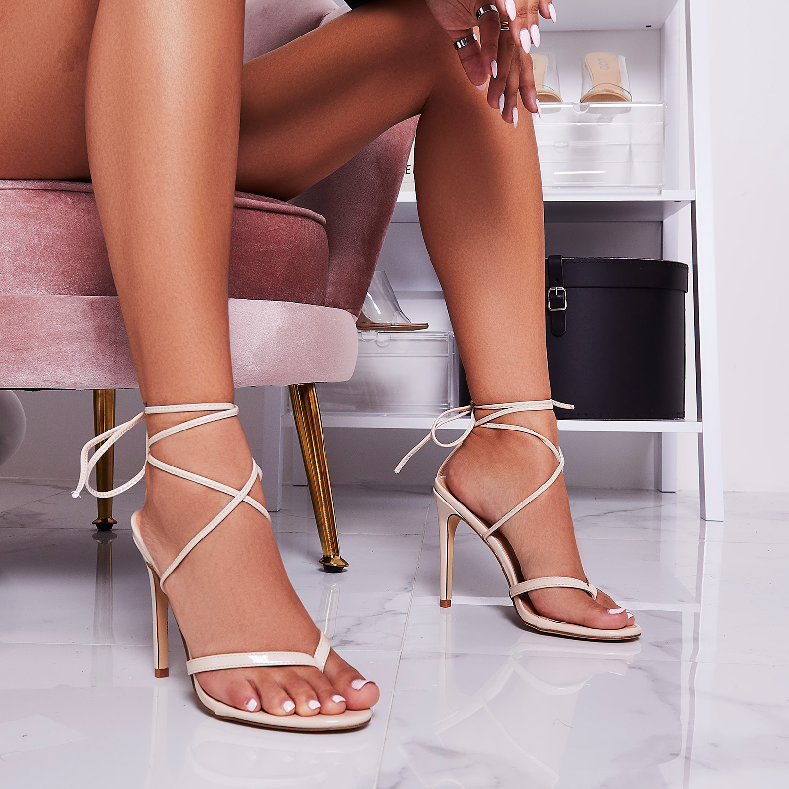 Malina Lace Up Heel In Nude Patent