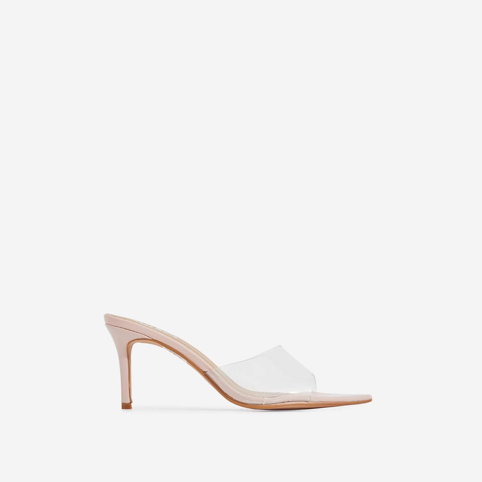 Maelle Pointed Peep Toe Perspex Heel Mule In Nude Patent