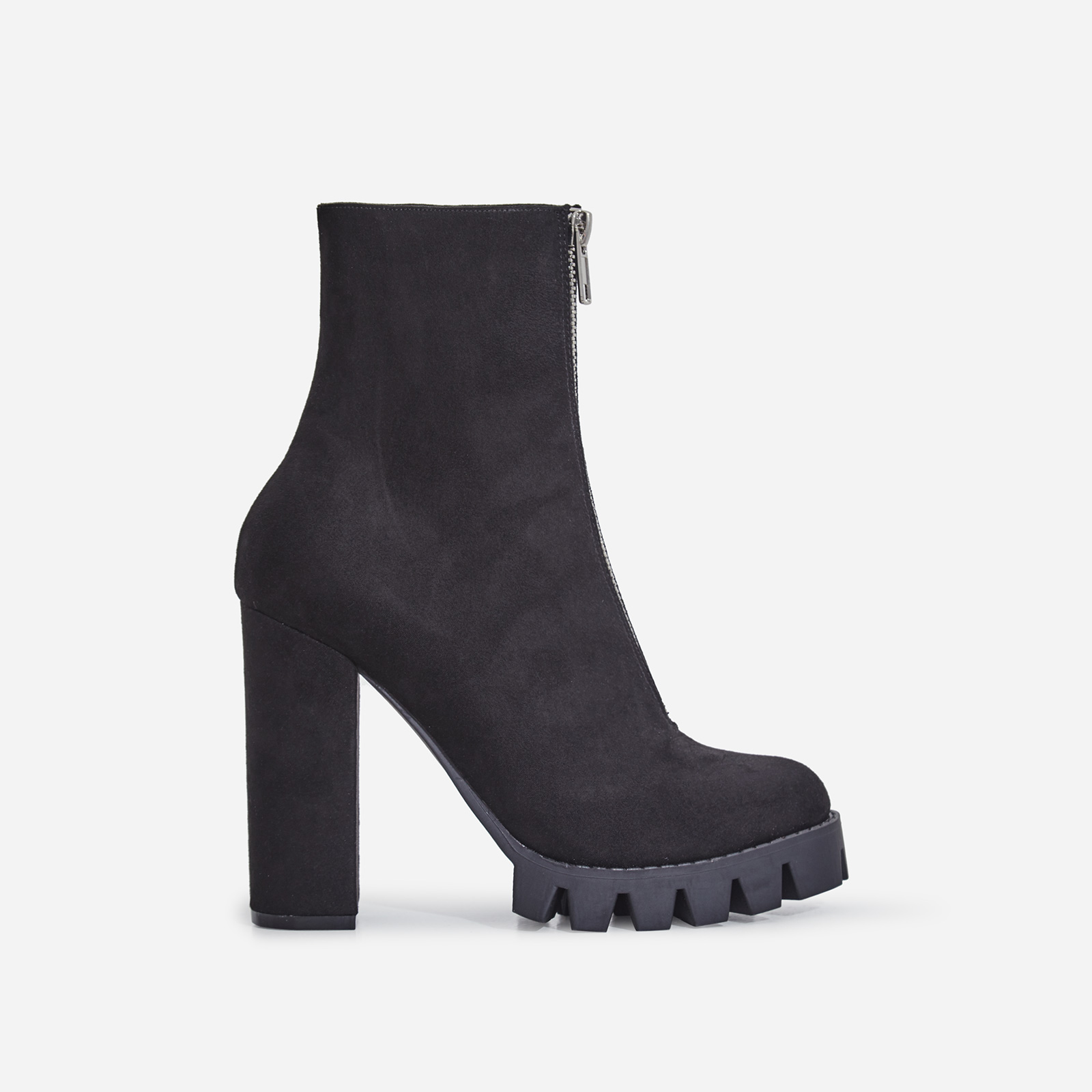 Mamba Zip Detail Cleated Sole Ankle Boot In Black Faux Suede