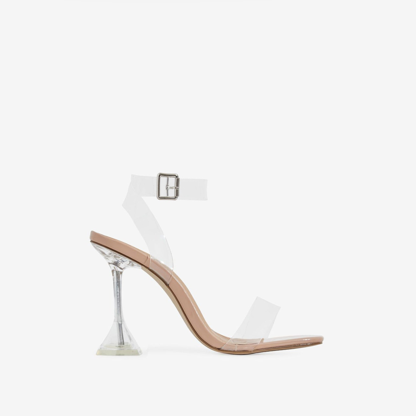 Marca Barley There Square Toe Perspex Heel In Nude Patent