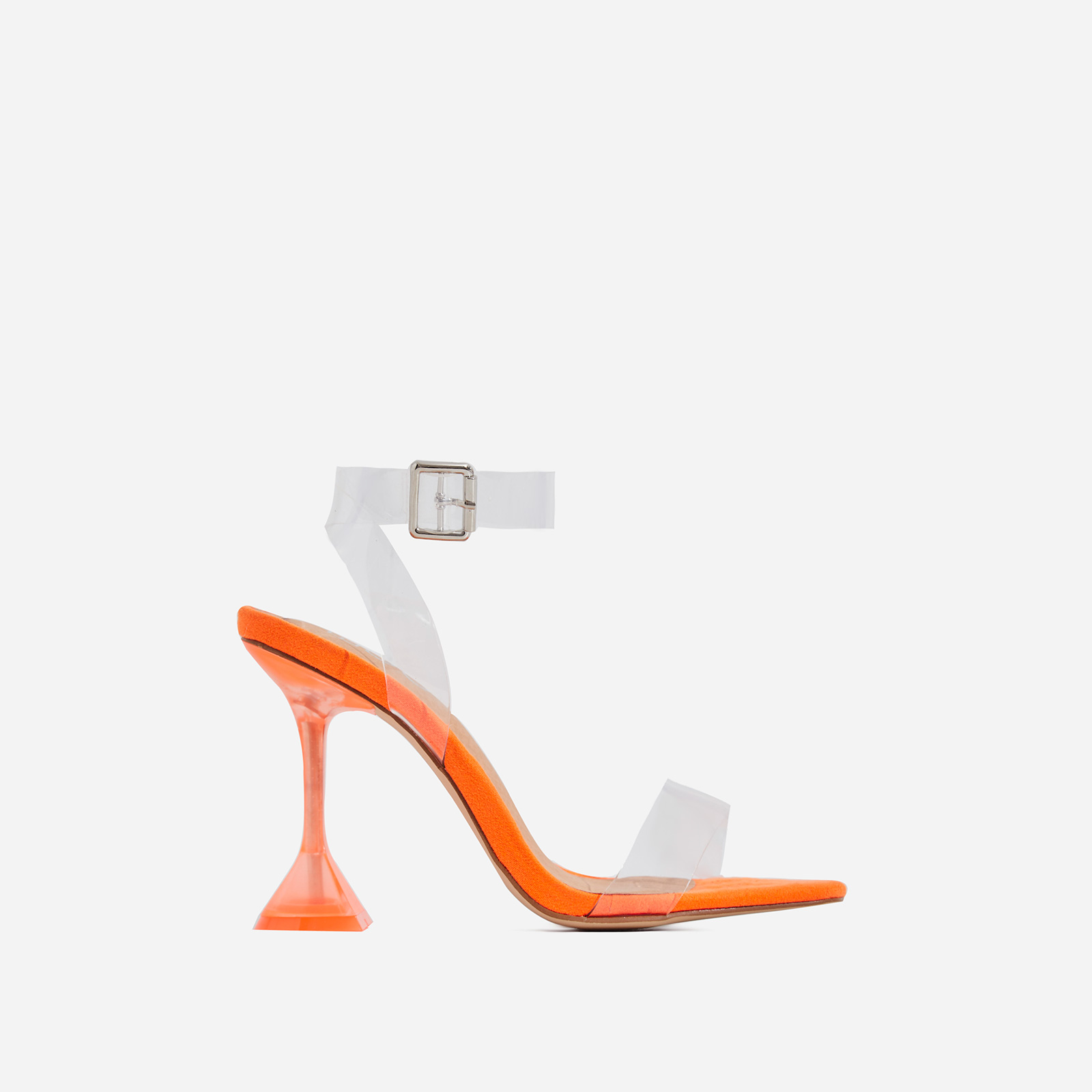 Marca Barely There Square Toe Perspex Heel In Orange Faux Suede