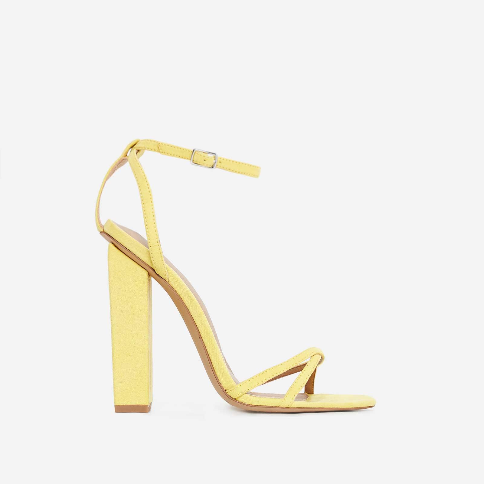 Margaret Block Heel In Yellow Faux Suede