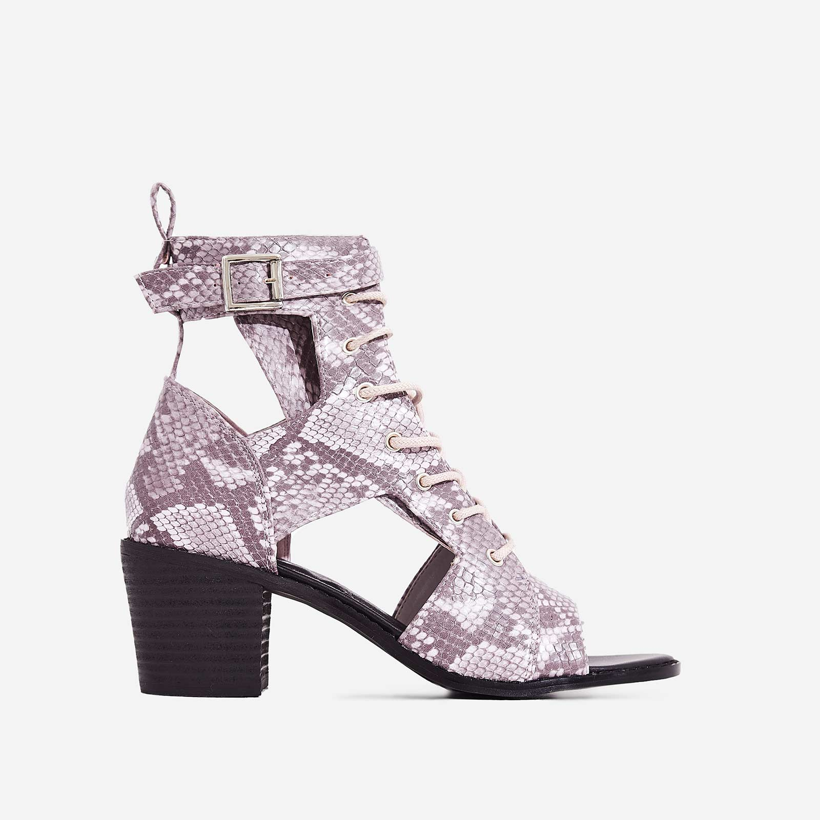 Maria Cut Out Lace Up Ankle Western Boot In Pink Snake Print Faux Leather