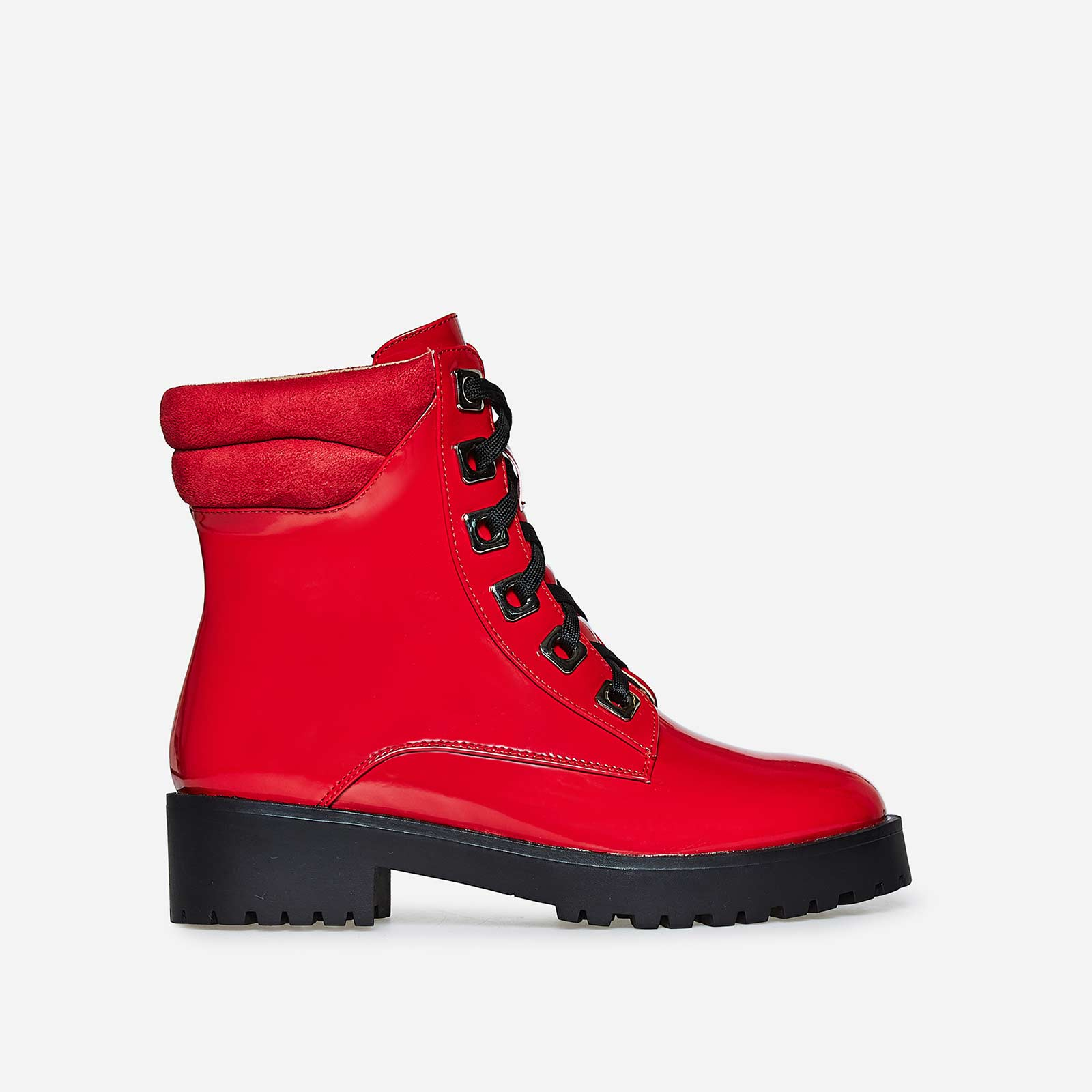 Marla Lace Up Biker Boot in Red Patent