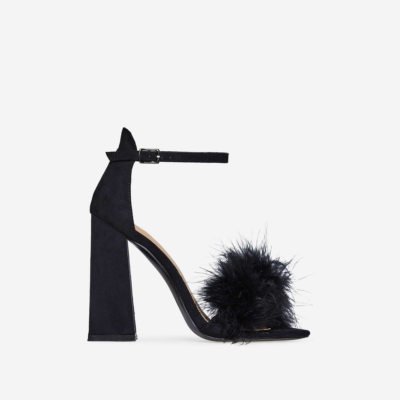 Marley Fluffy Flared Block Heel In Black Faux Suede