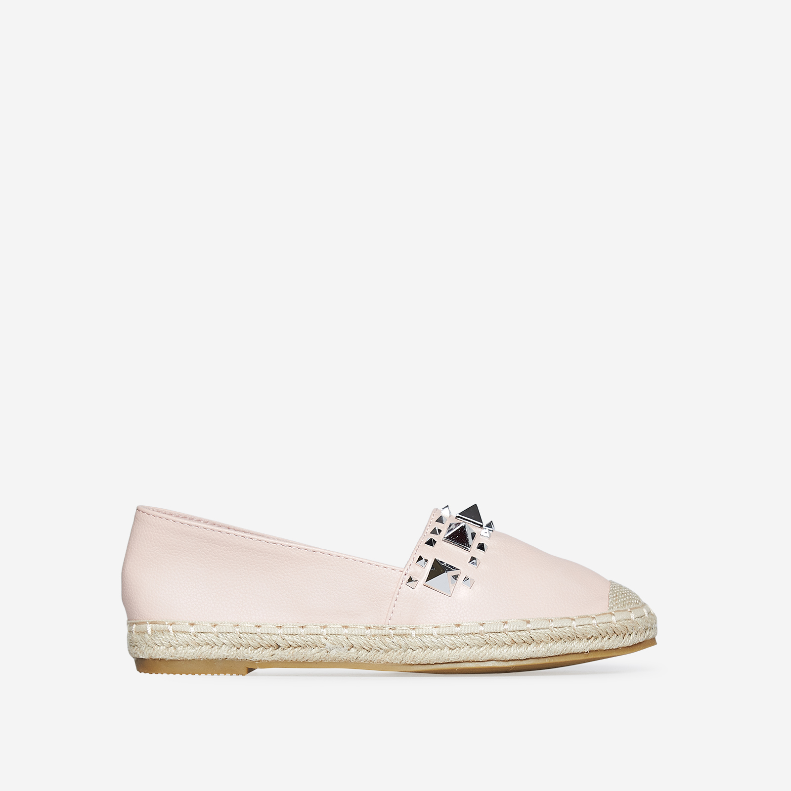 Lia Studded Detail Espadrille In Pink Faux Leather
