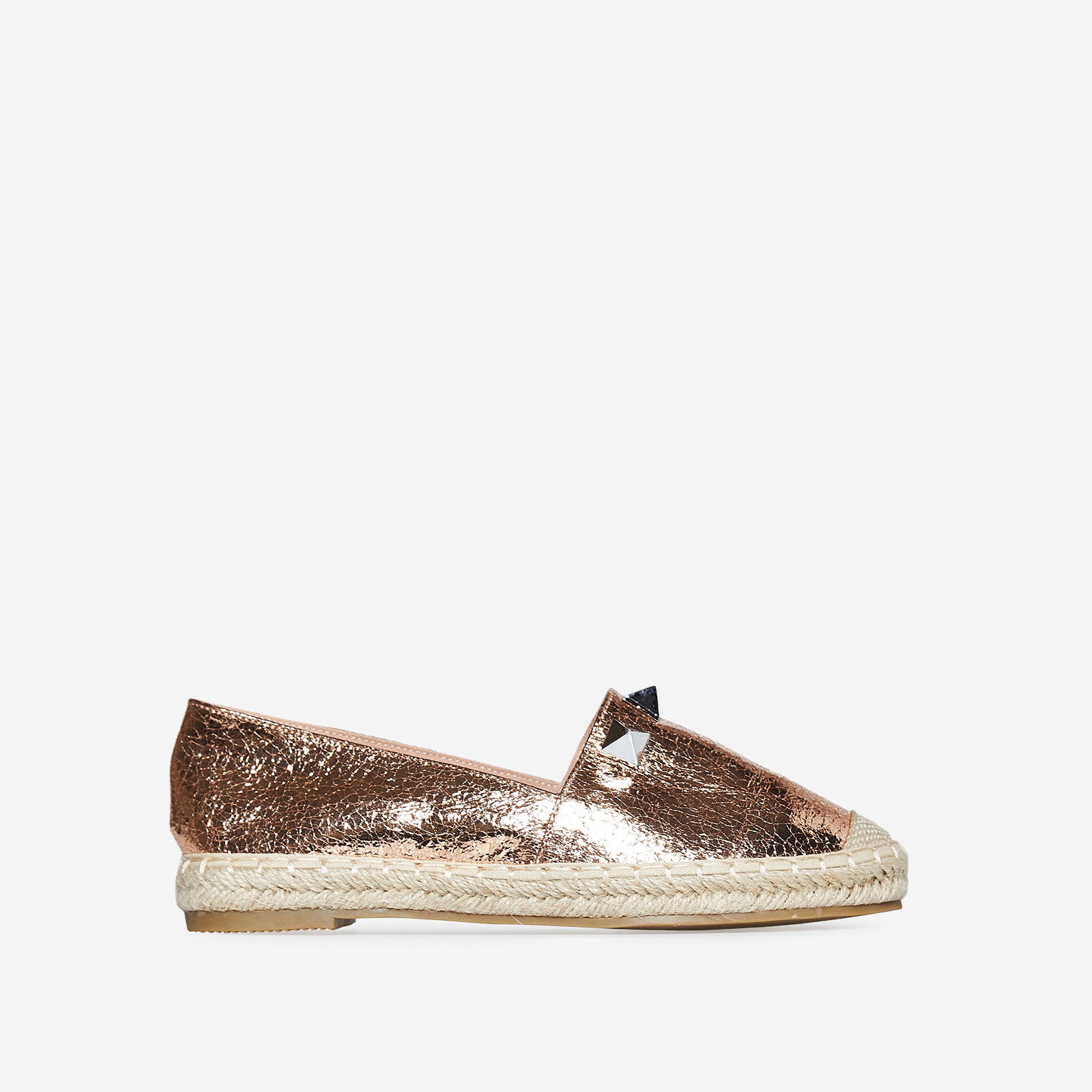 Lia Studded Detail Espadrille In Rose Gold Faux Leather