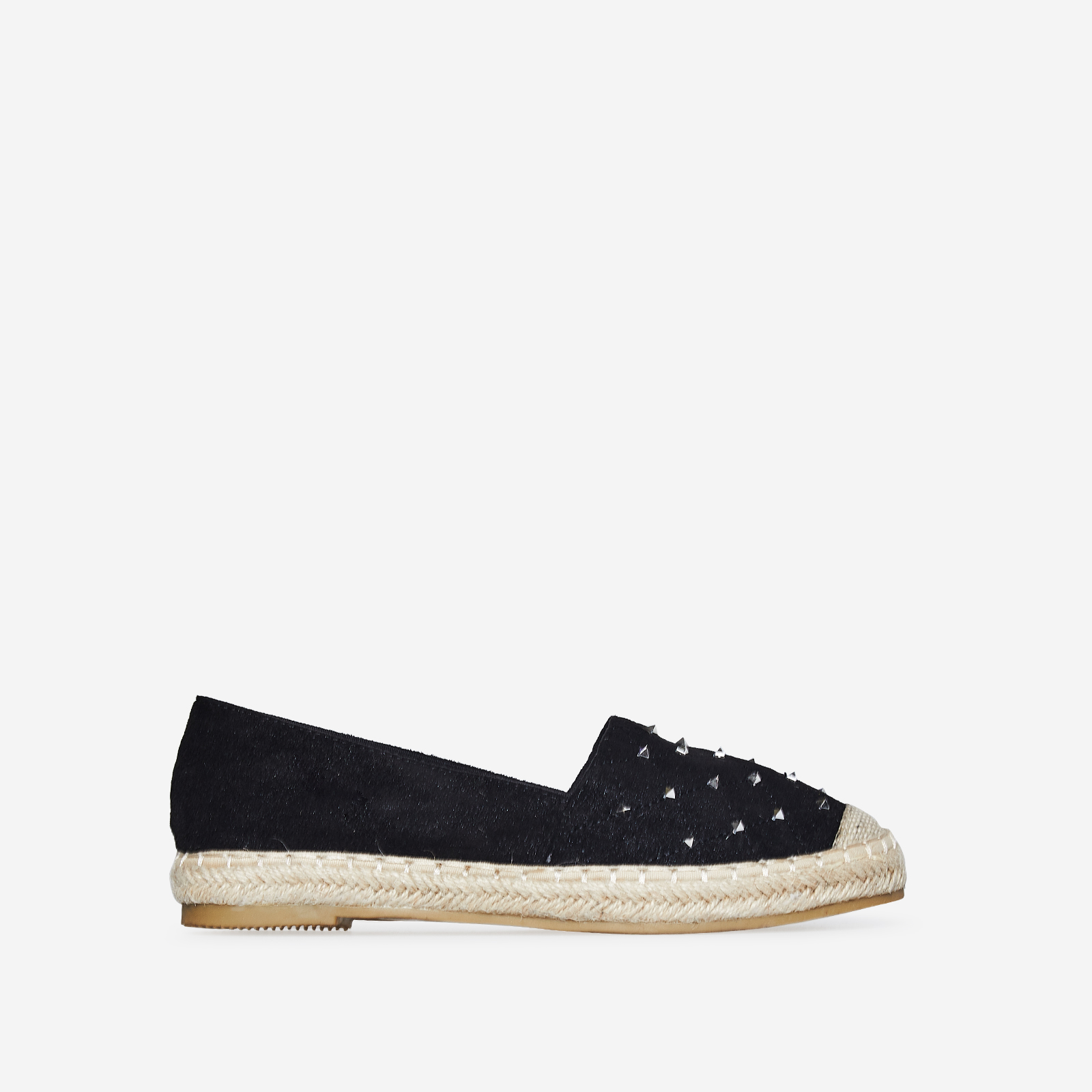 Rio Studded Detail Espadrille In Black Faux Suede
