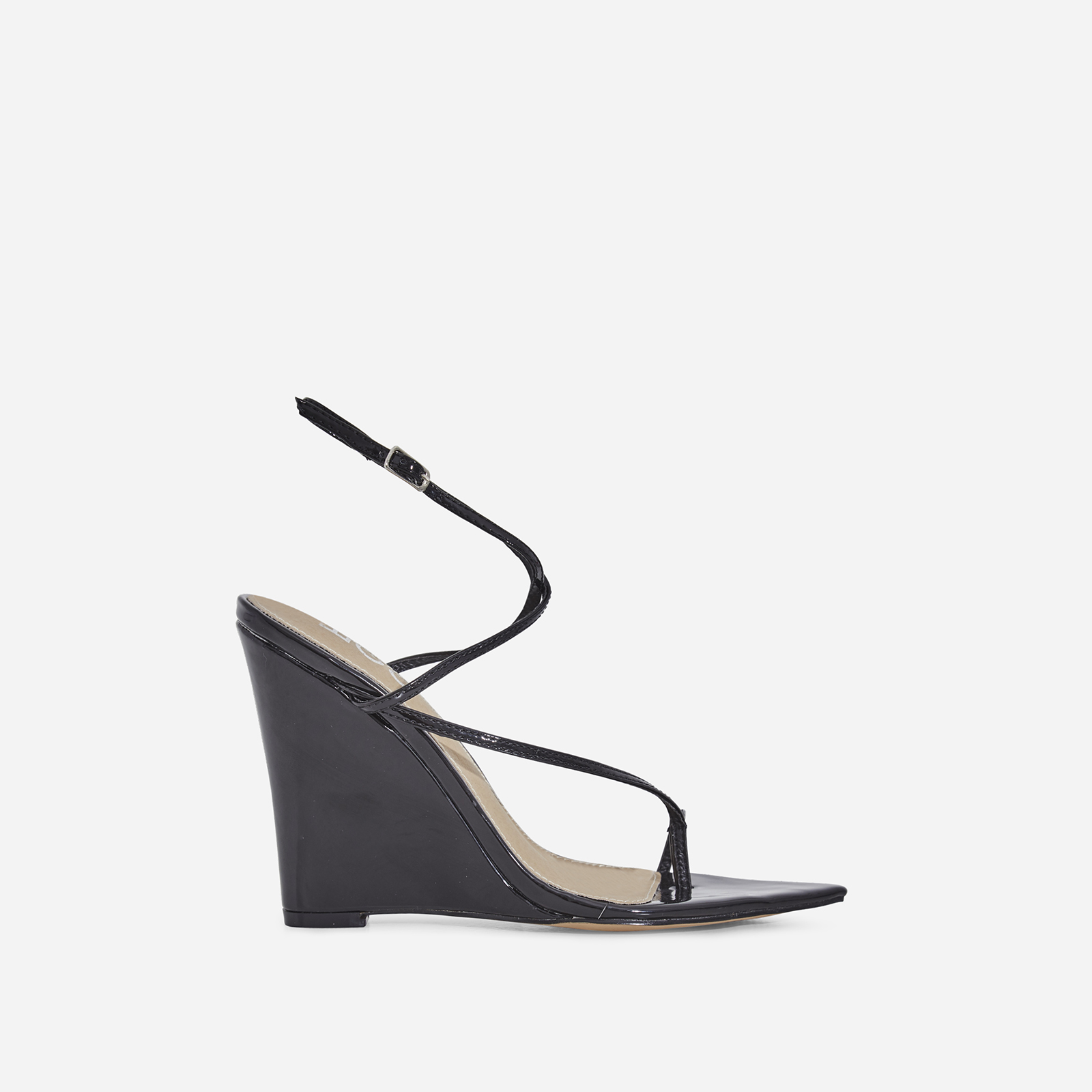 Melanie Toe Strap Wedge Heel In Black Patent