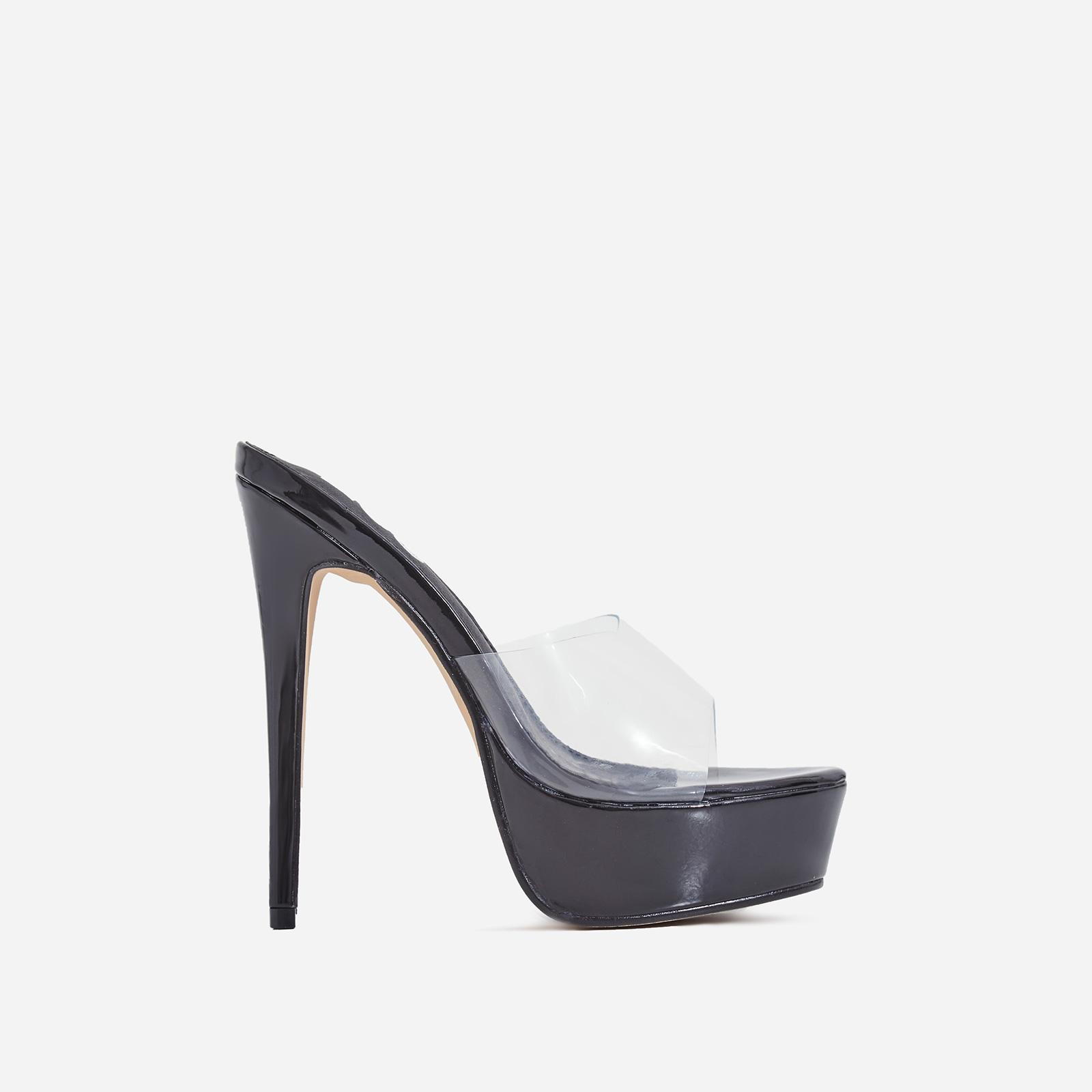 Mercedes Perspex Platform Heel Mule In Black Patent