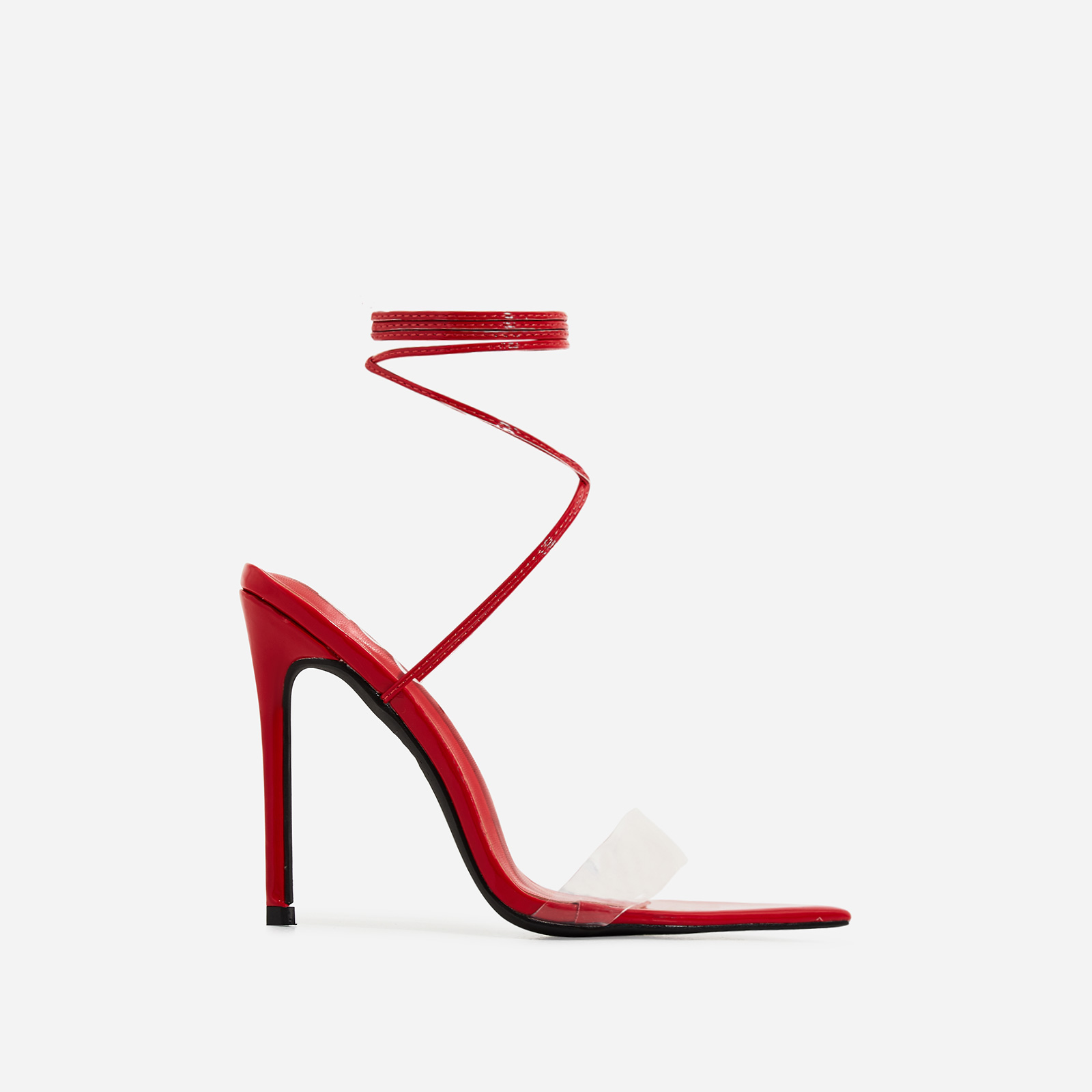 Miami Lace Up Perspex Pointed Heel In Red Patent
