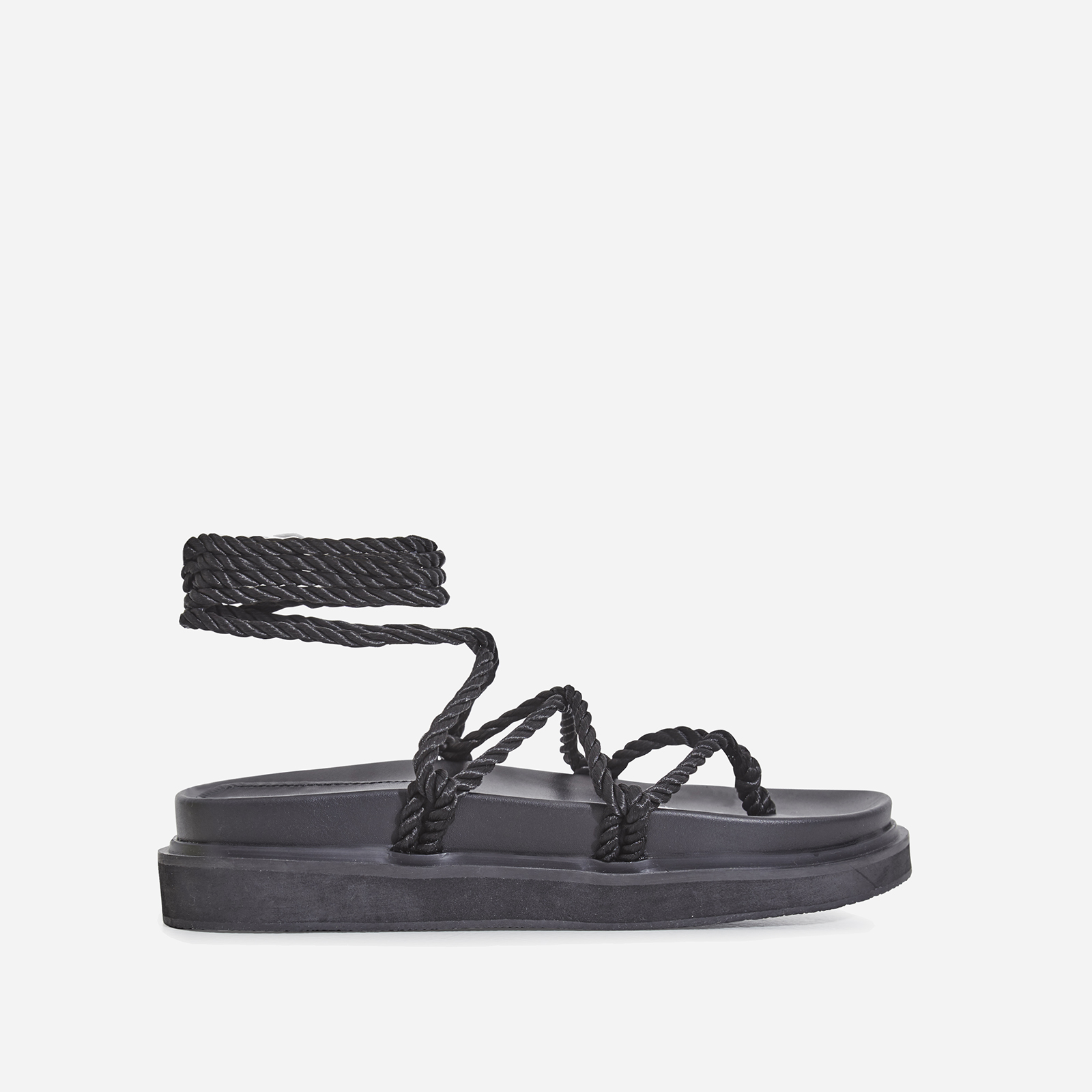 Mika Lace Up Rope Espadrille Sandal In Black Faux Leather