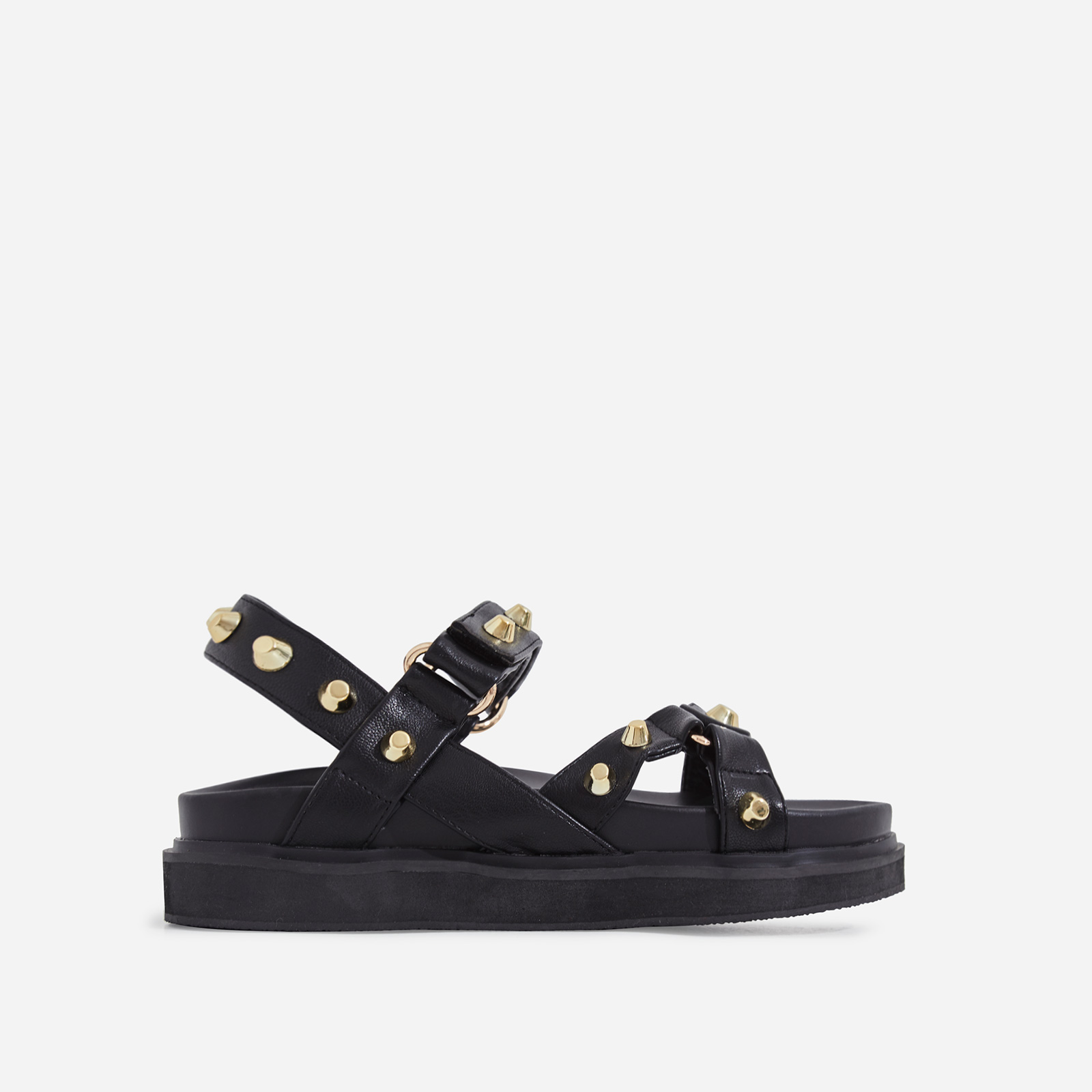 Mila Studded Detail Chunky Sole Sandal In Black Faux Leather
