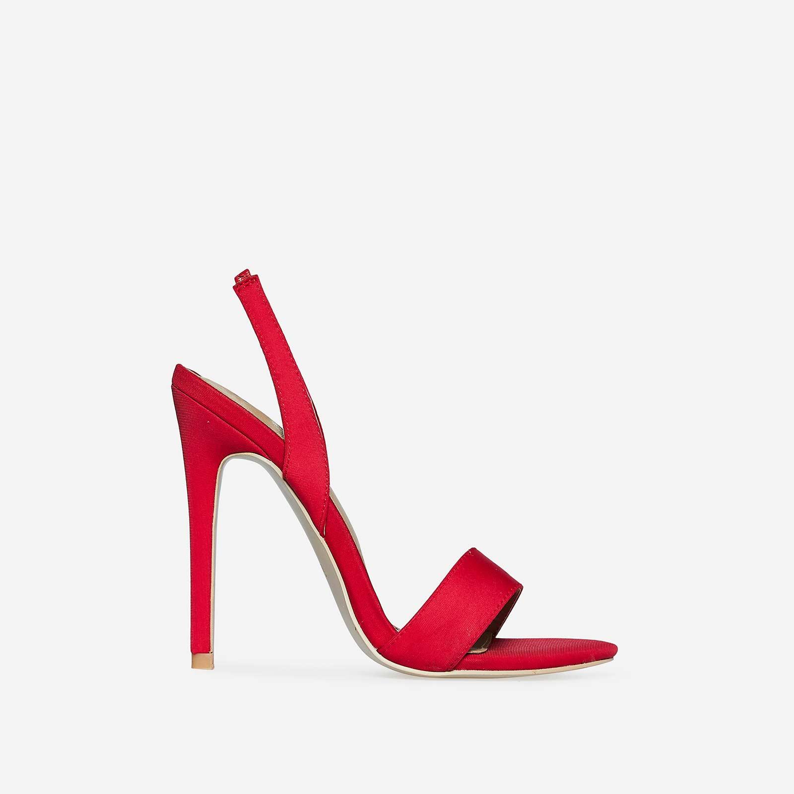 Mila Slip Back Heel In Red Lycra