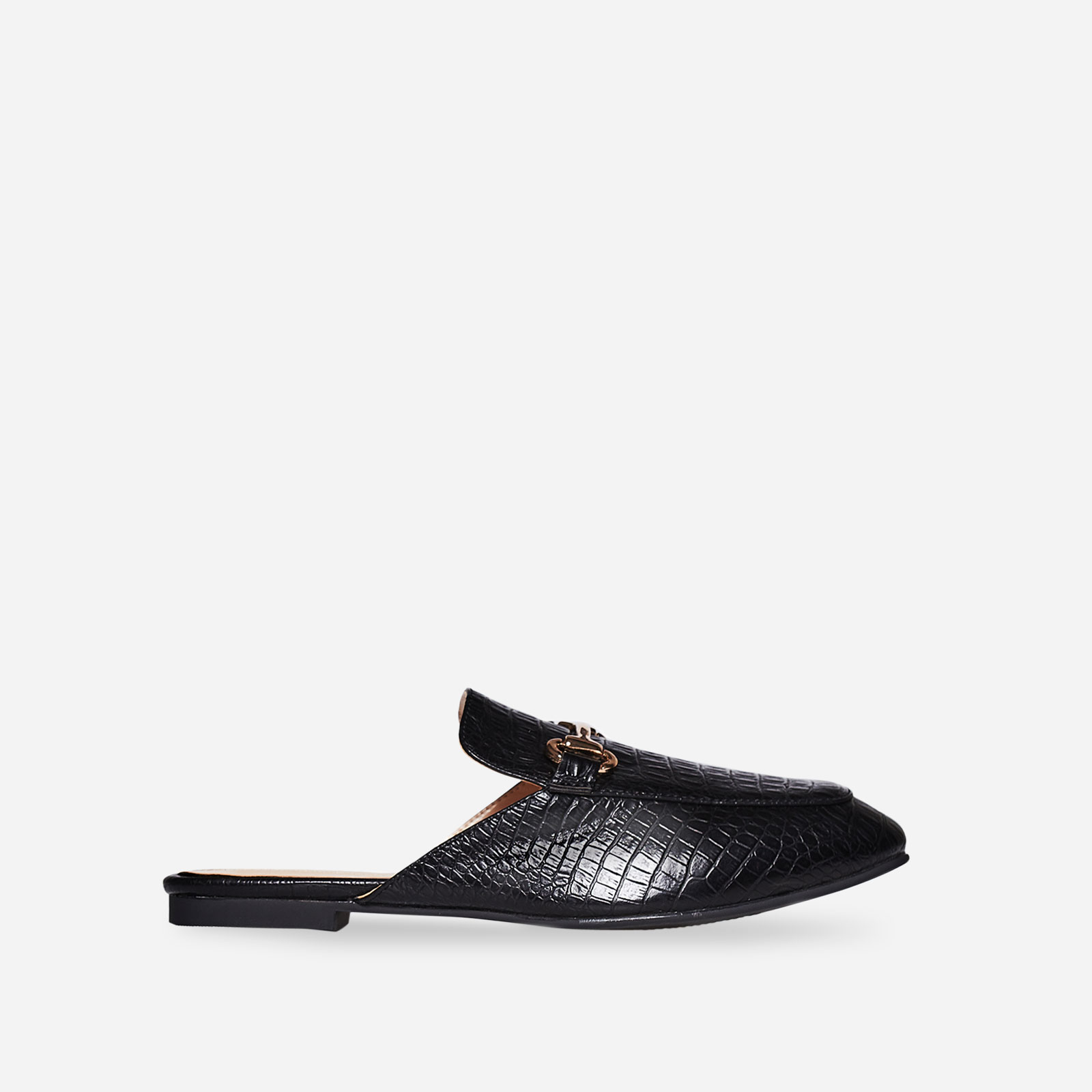Miley Slip On Mule In Black Croc Faux Leather