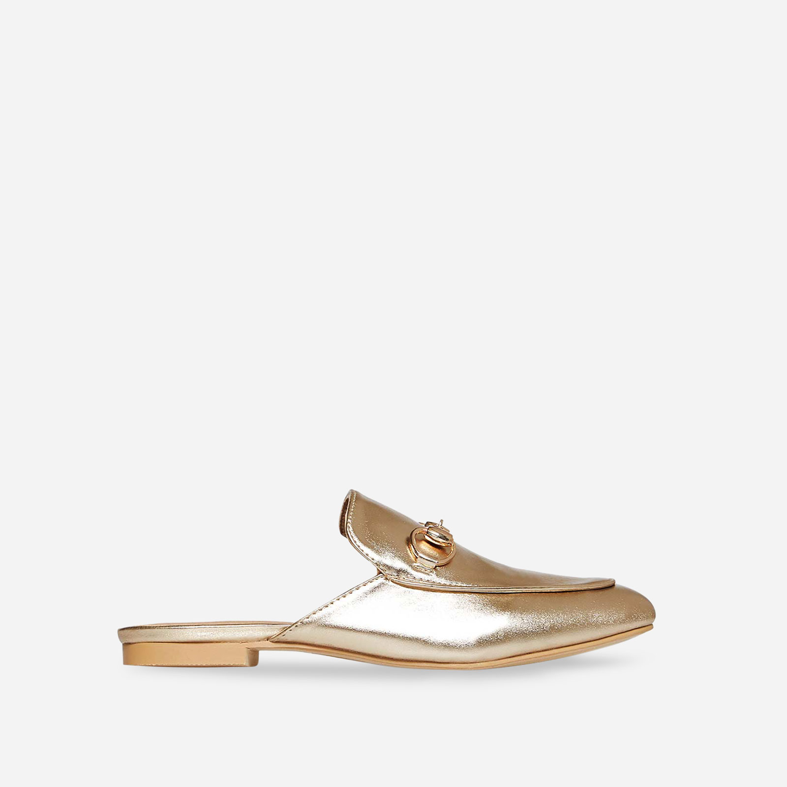 Miley Flat Mule In Gold Faux Leather Image 1