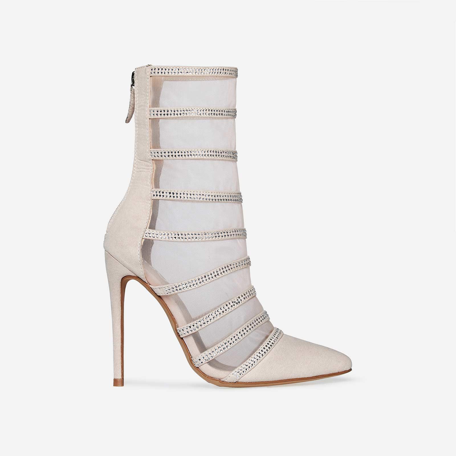 Minnie Silver Diamante Mesh Sock Boot In Nude Faux Suede
