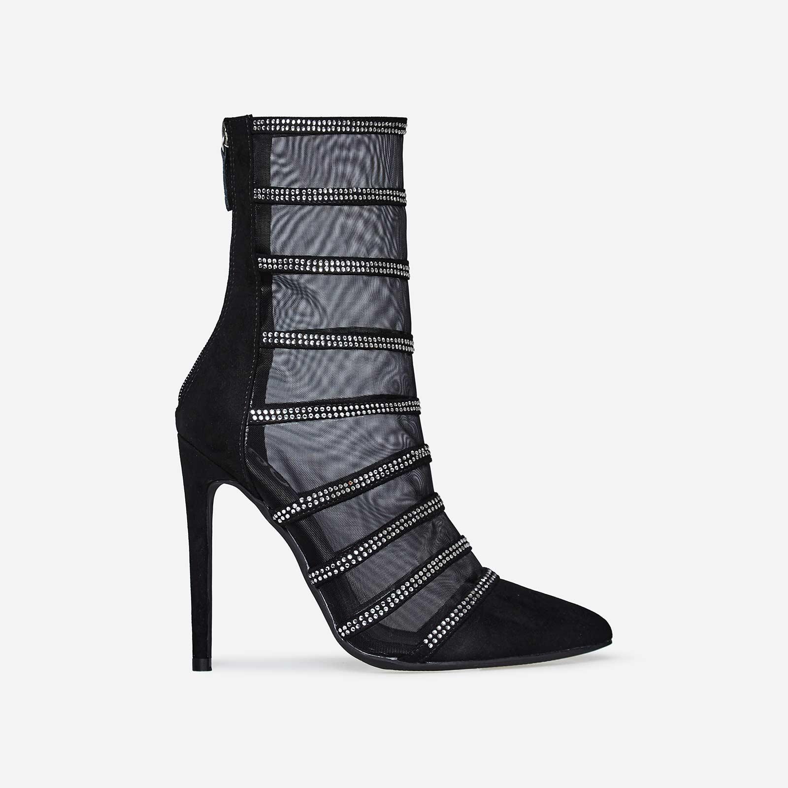 Minnie Silver Diamante Mesh Sock Boot In Black Faux Suede