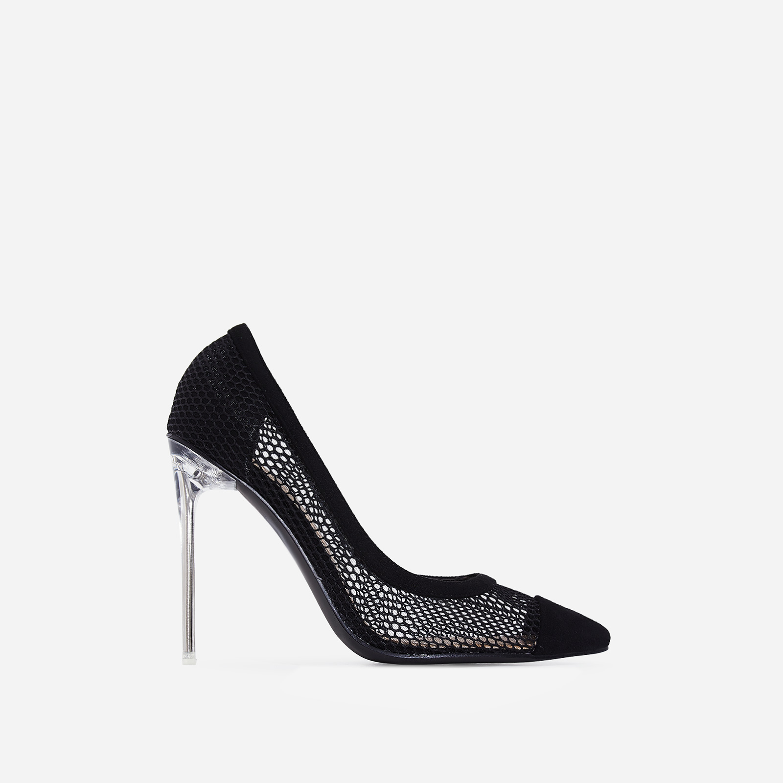 Morgan Perspex Mesh Court Heel In Black Faux Suede