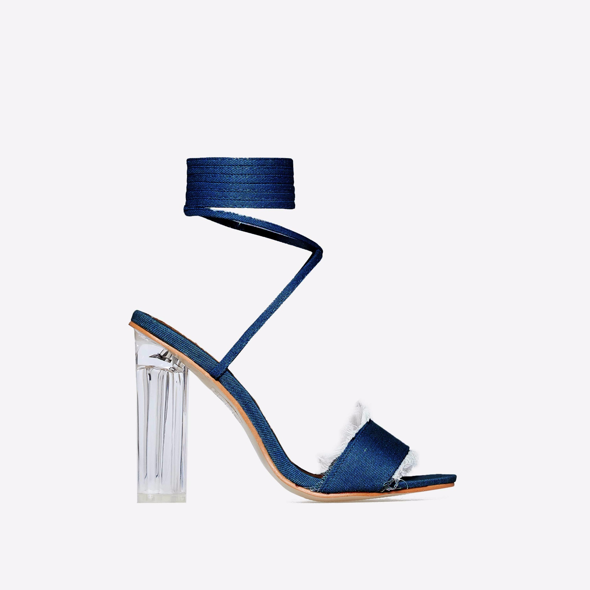Rhonda Lace Up Perspex Heel In Dark Blue Denim