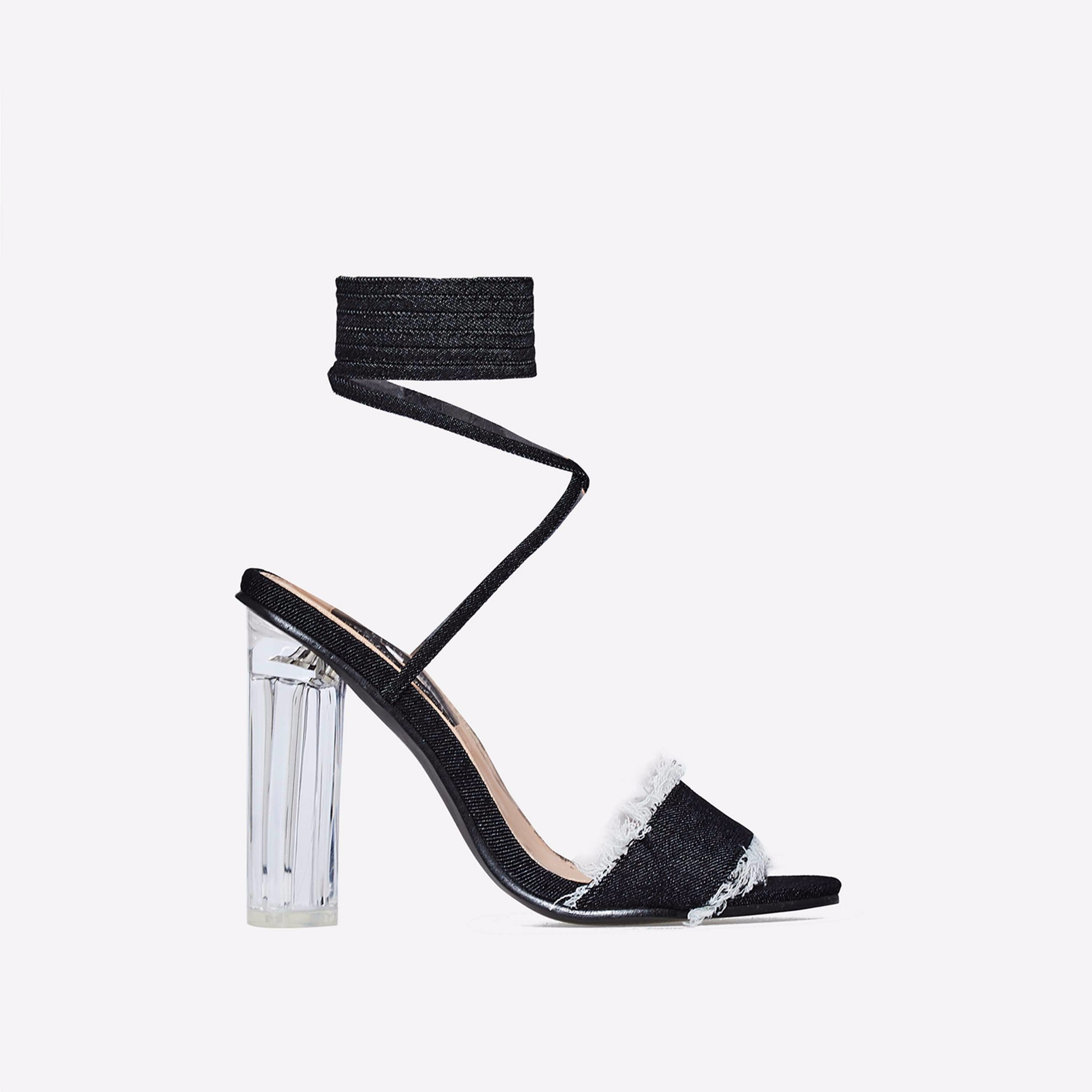Rhonda Lace Up Perspex Heel In Black Denim