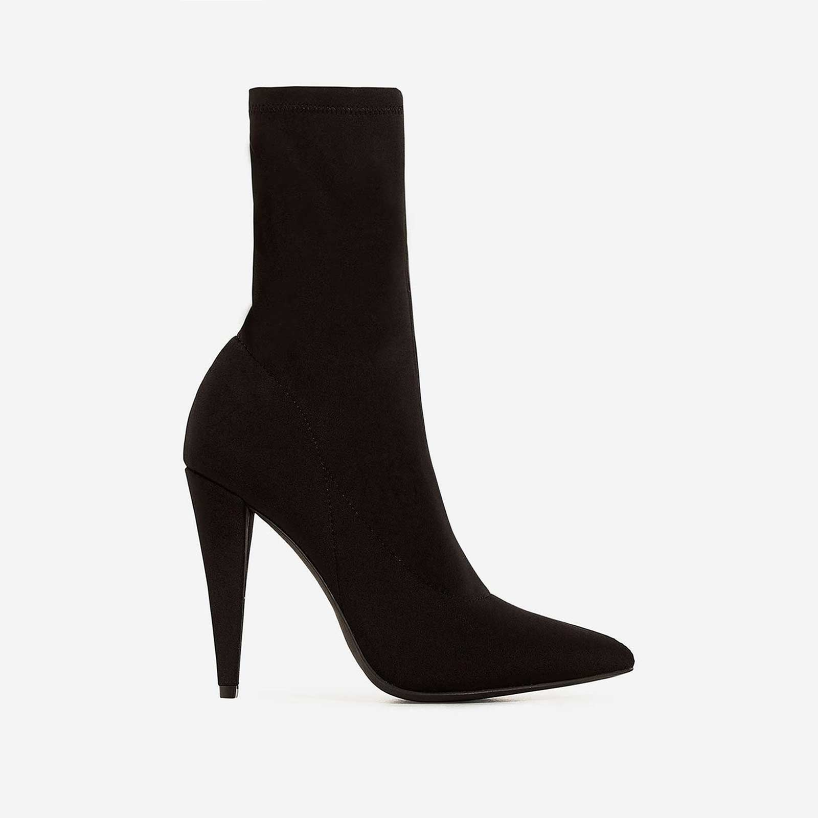 Nala Pointed Heel Ankle Sock Boot In Black Lycra