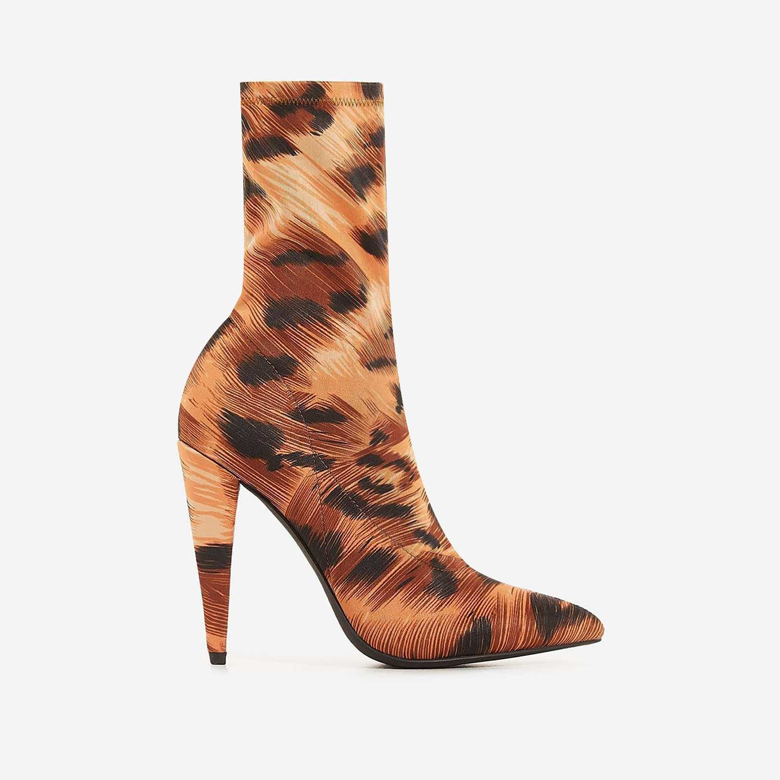Nala Pointed Heel Ankle Sock Boot In Tiger Print Lycra