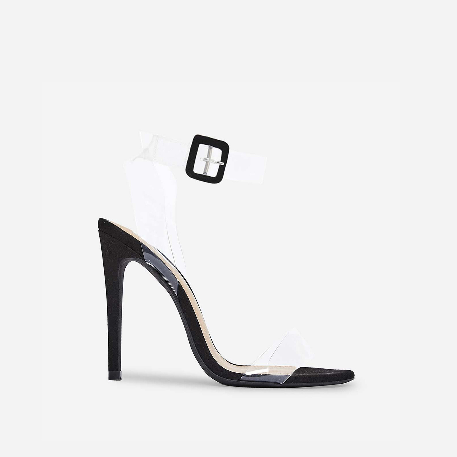 Neda Barely There Perspex Heel In Black Faux Suede