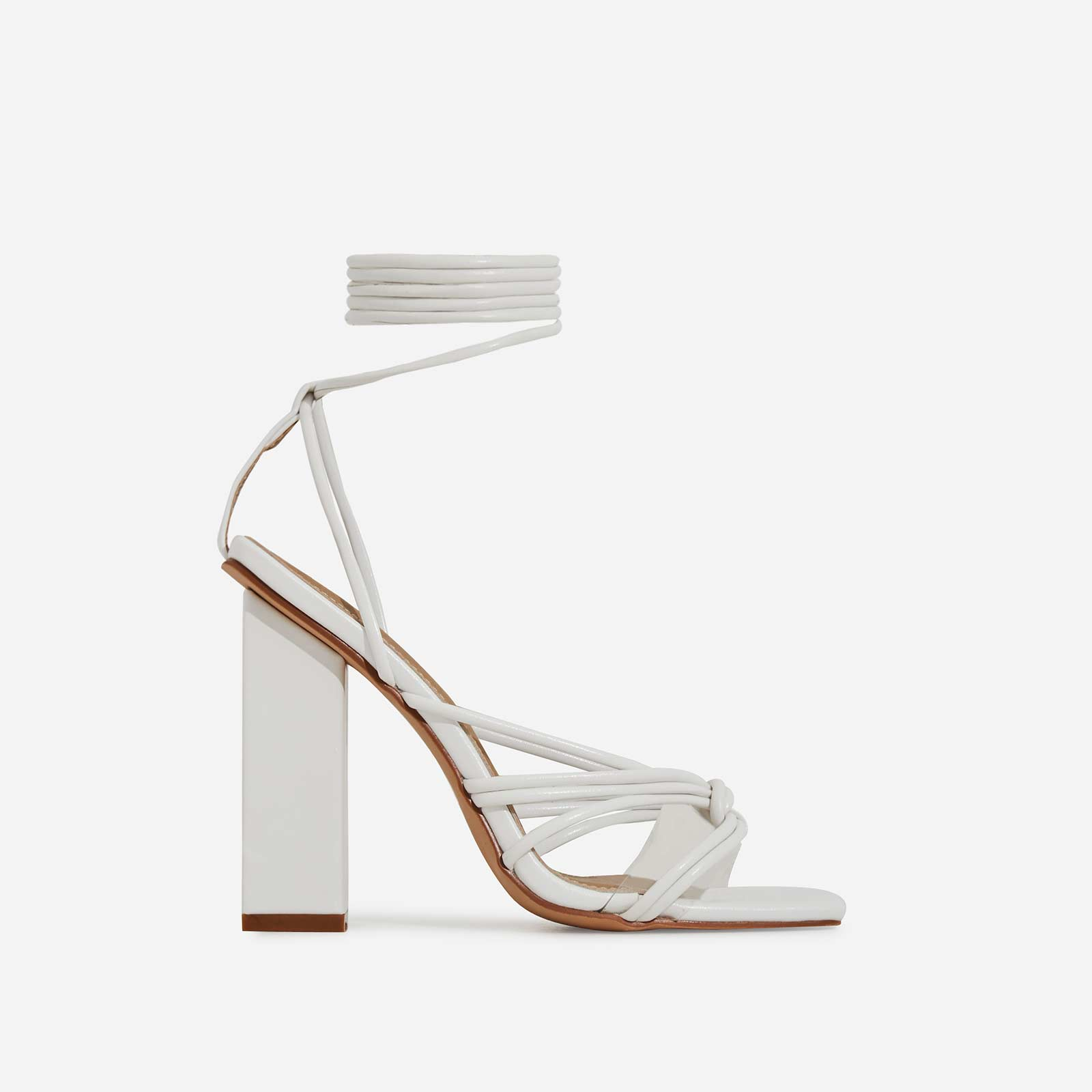 Neima Lace Up Square Toe Perspex Block Heel In White Faux Leather