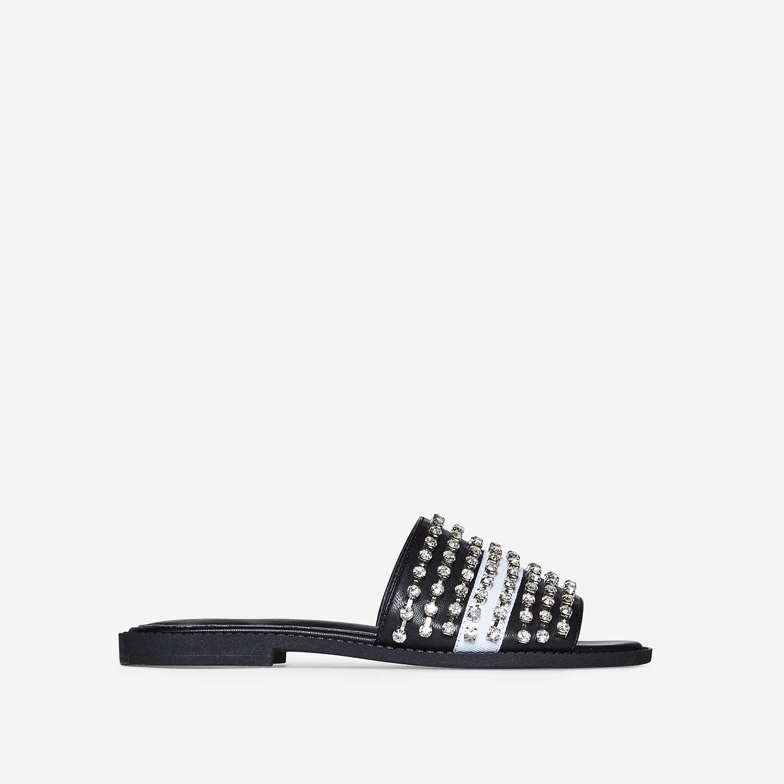 Nessa Diamante White Stripe Detail Slider In Black Faux Leather