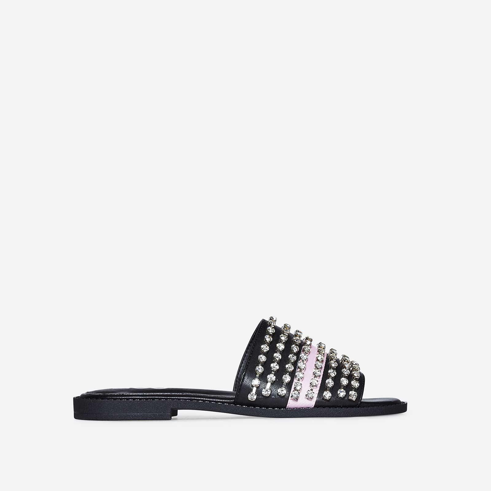 Nessa Diamante Pink Stripe Detail Slider In Black Faux Leather