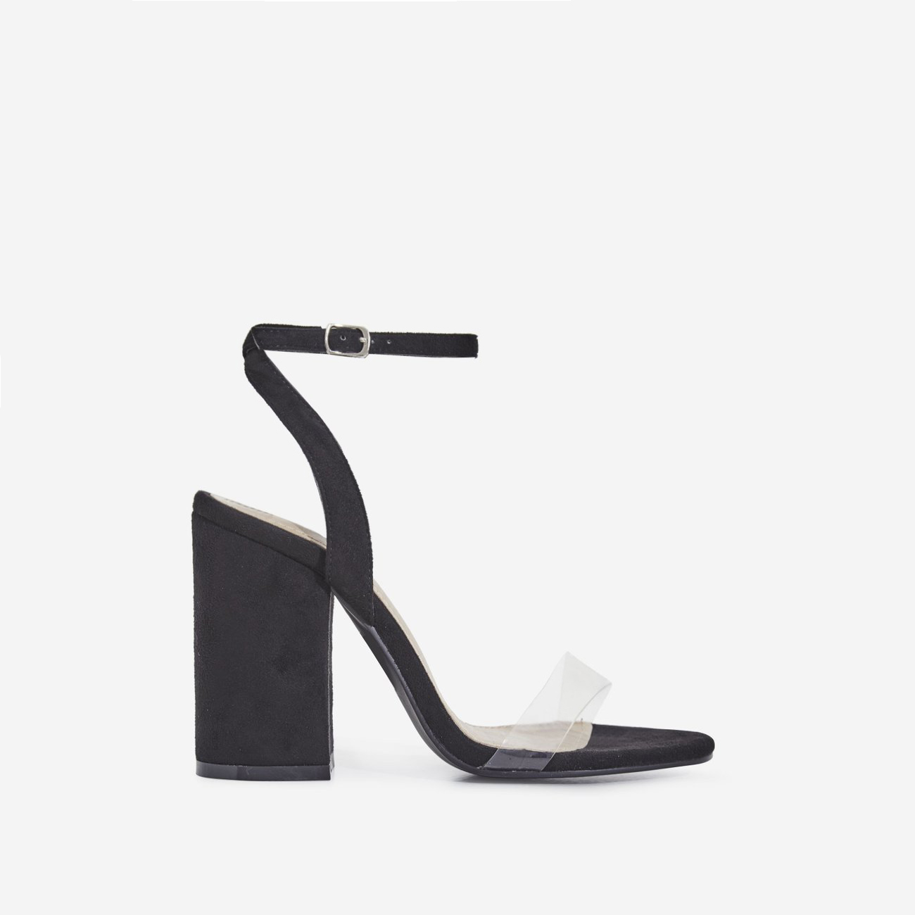 Nikita Perspex Block Heel In Black Faux Suede