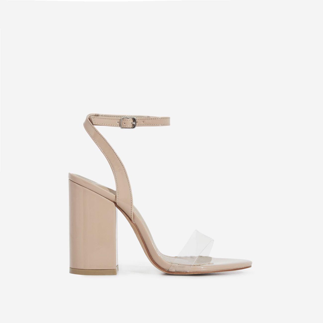 Nikita Perspex Block Heel In Nude Patent