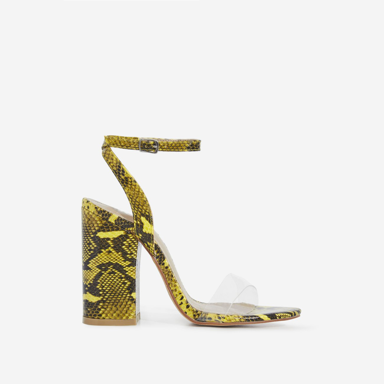Nikita Perspex Block Heel In Yellow Snake Print Faux Leather