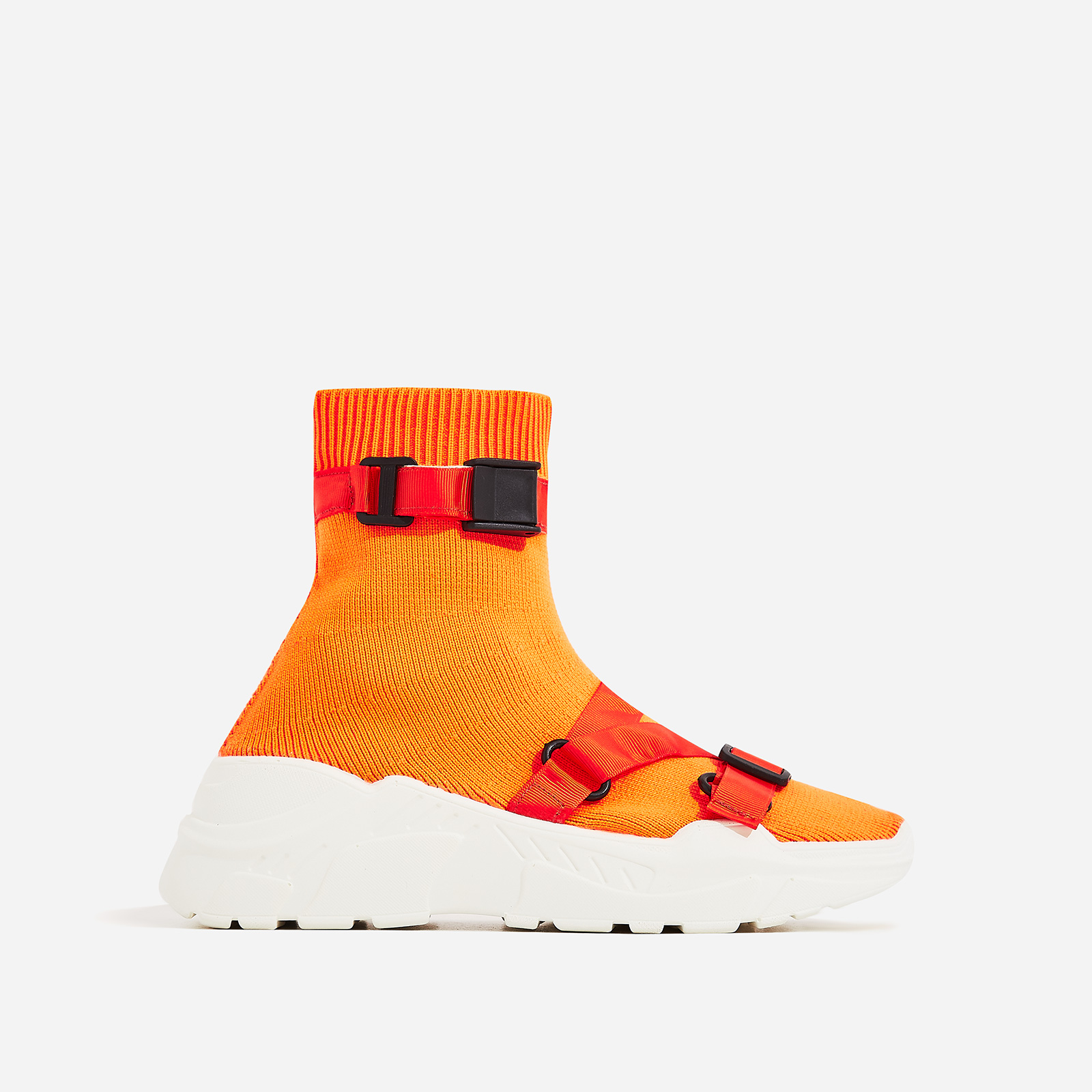 Off-Black Chunky Sole Sock Trainer In Orange Knit