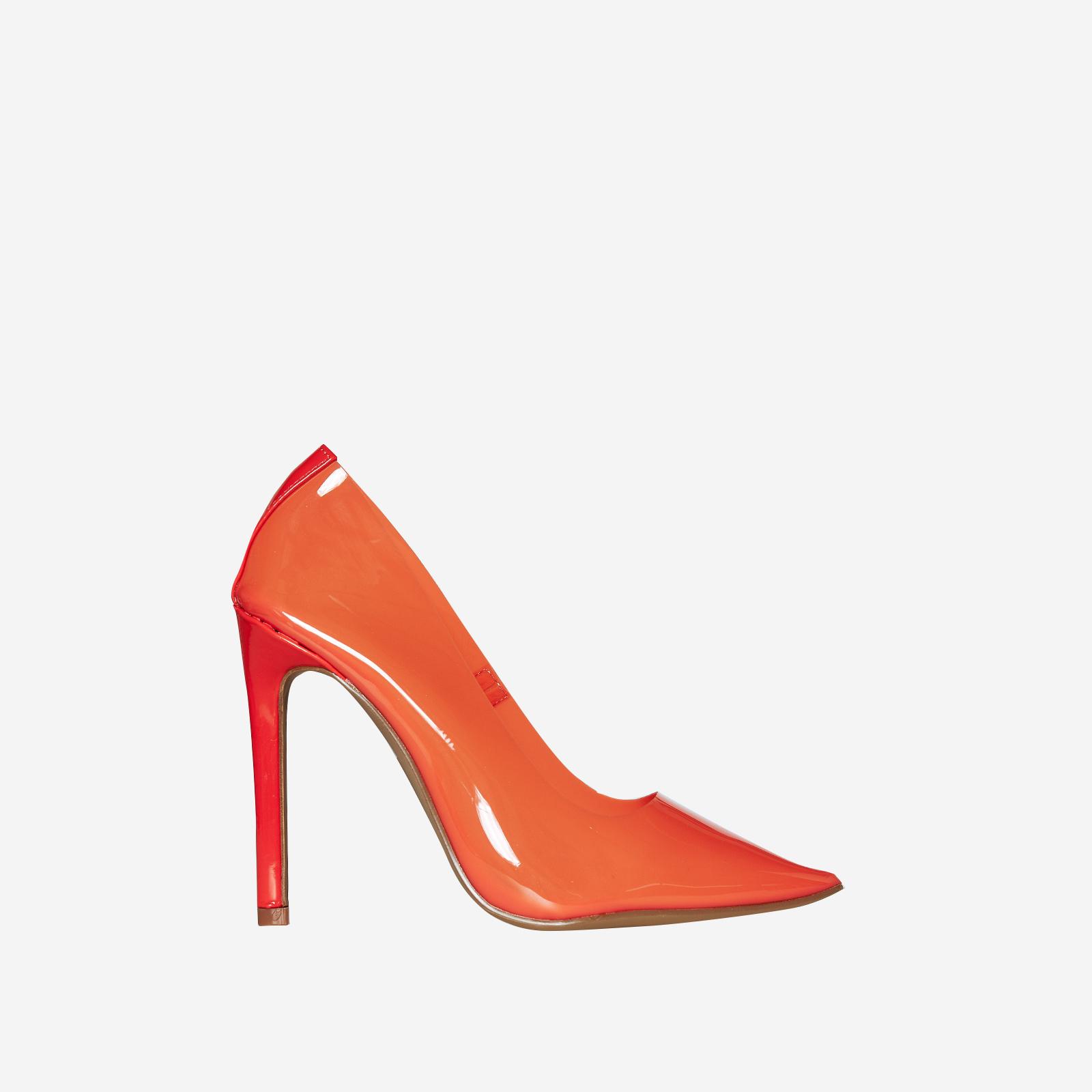 Virginia Perspex Court Heel In Orange Patent