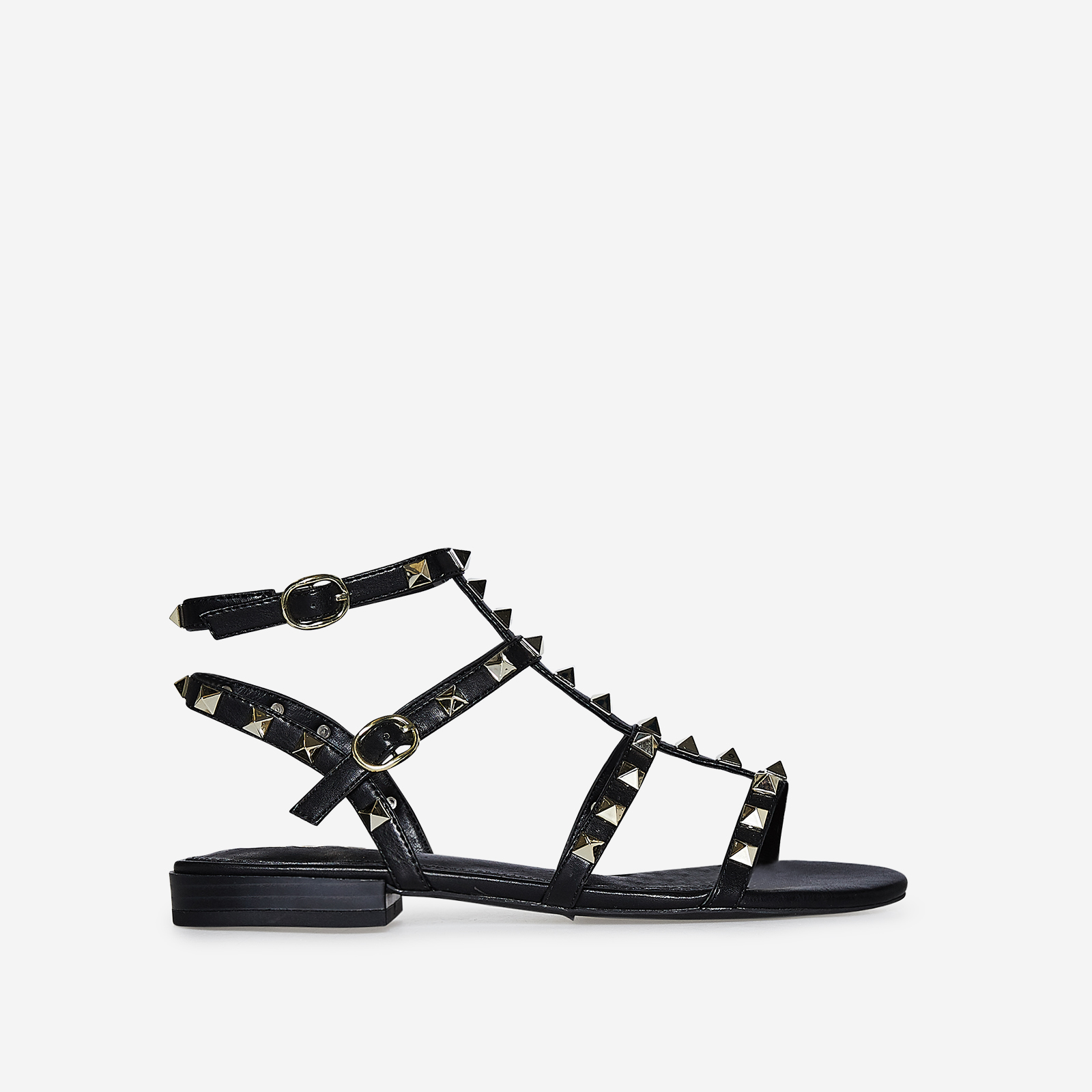 Paisley Gold Studded Detail Gladiator Sandal In Black Faux Leather
