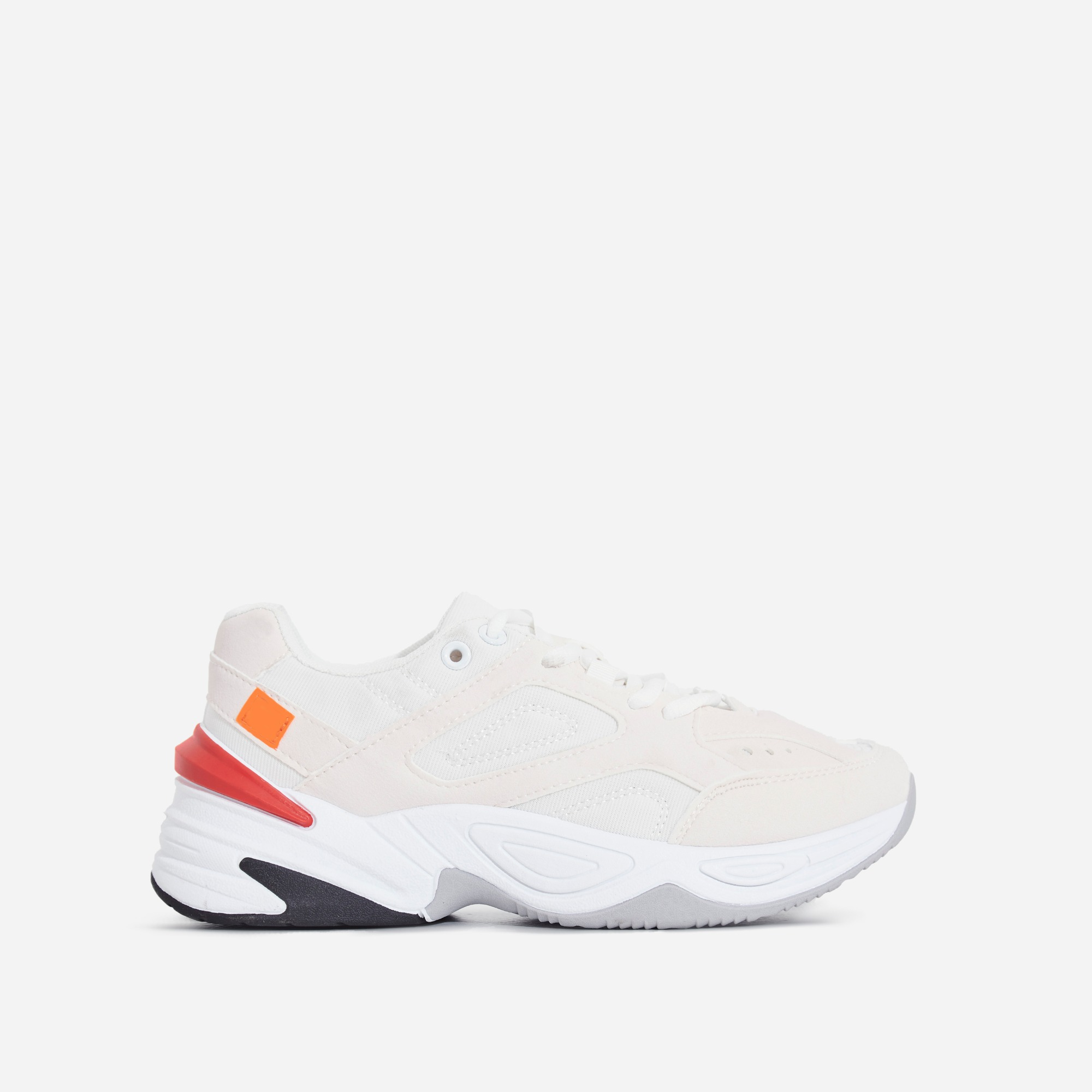 Parker Chunky Sole Trainer In White And Pink
