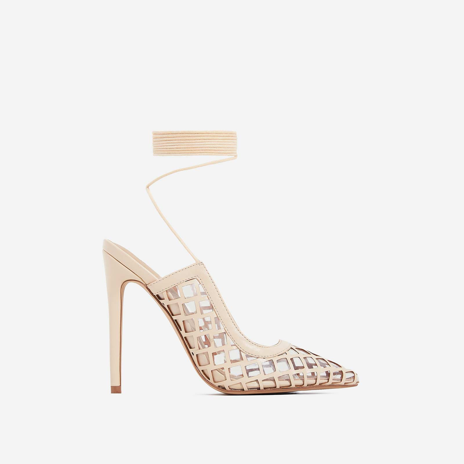 Pasha Lace Up Mesh Heel In Nude Faux Leather
