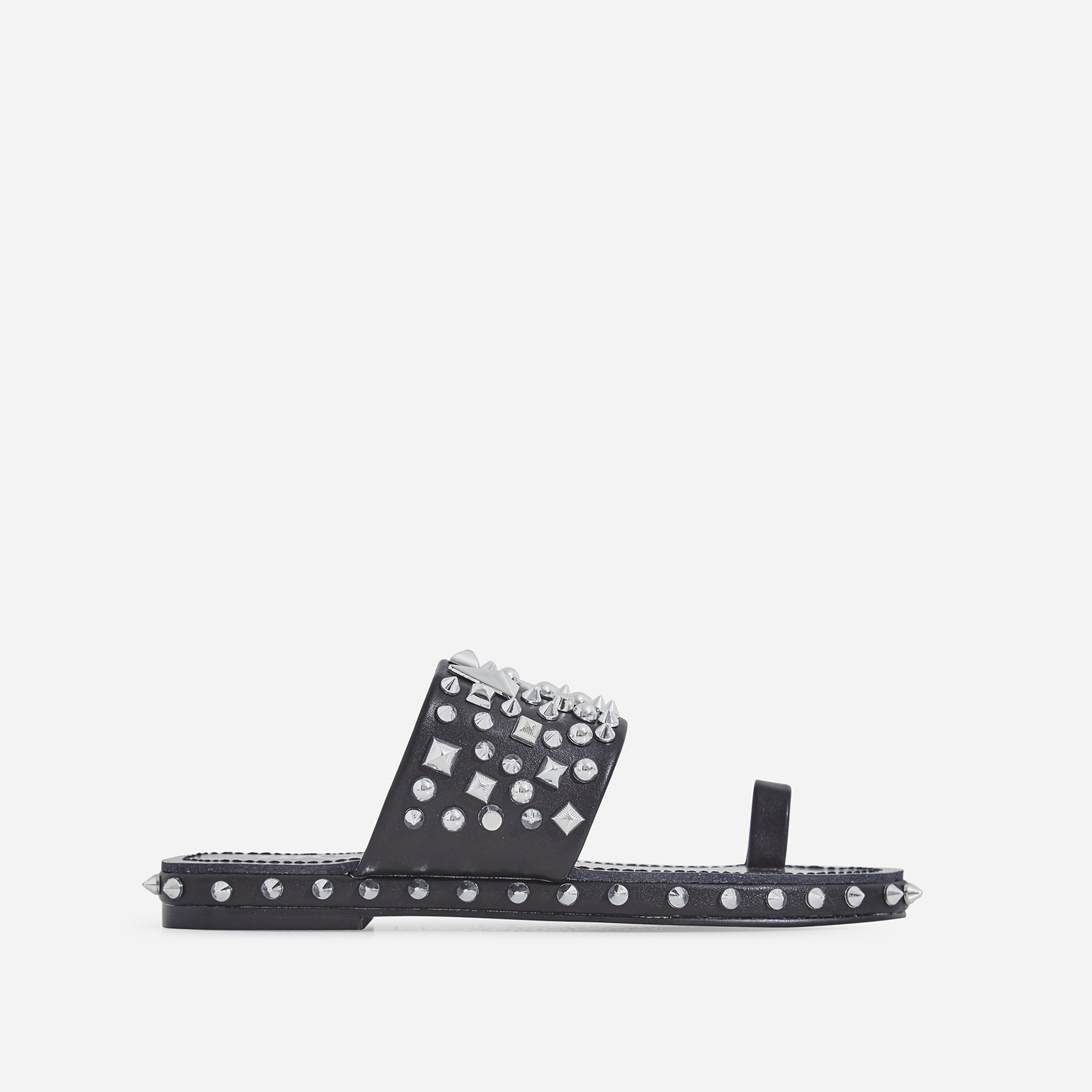 Pedro Studded Detail Toe Strap Slider In Black Faux Leather