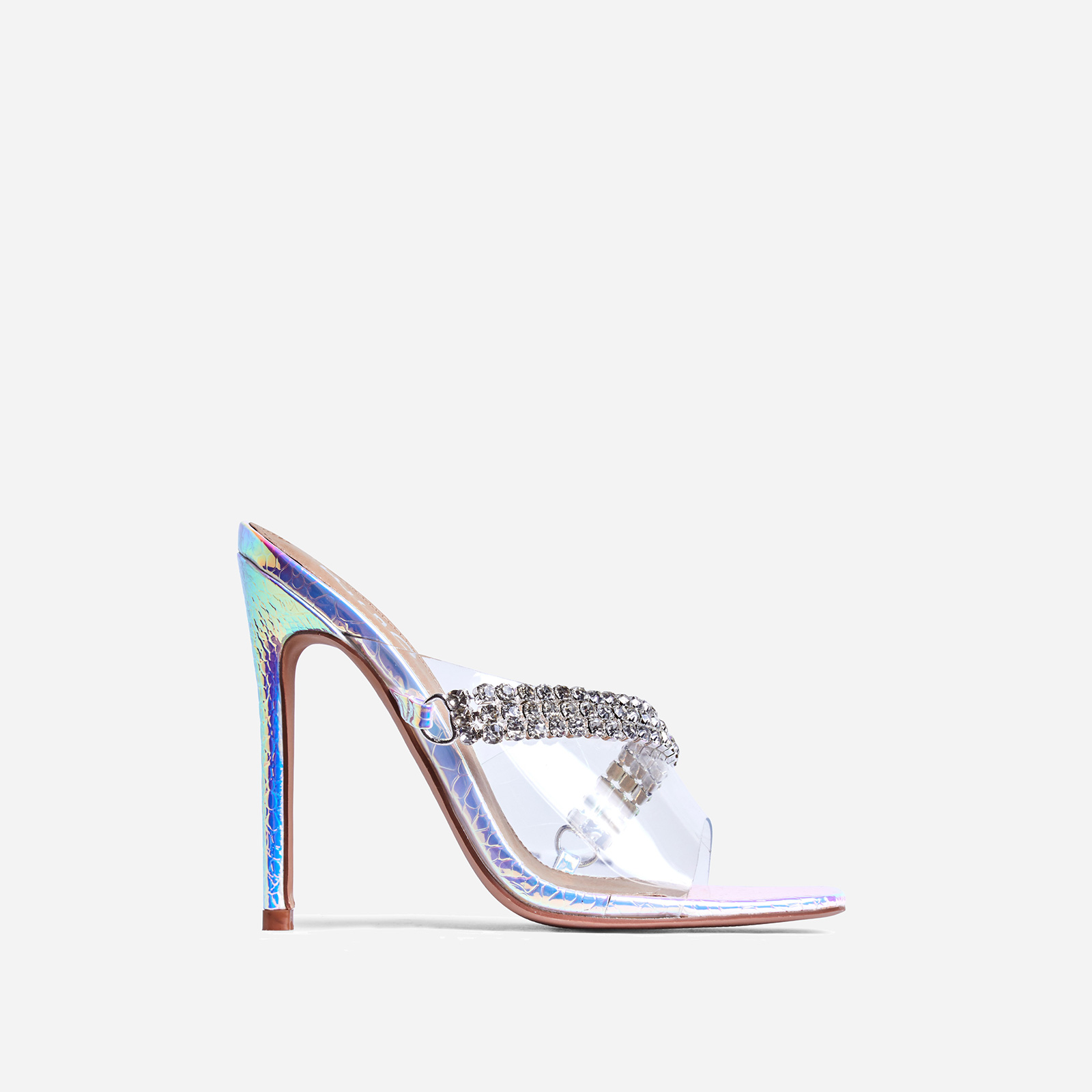 Peggy Diamante Detail  Square Peep Toe Heel Mule In Silver Holographic Snake Print Faux Leather