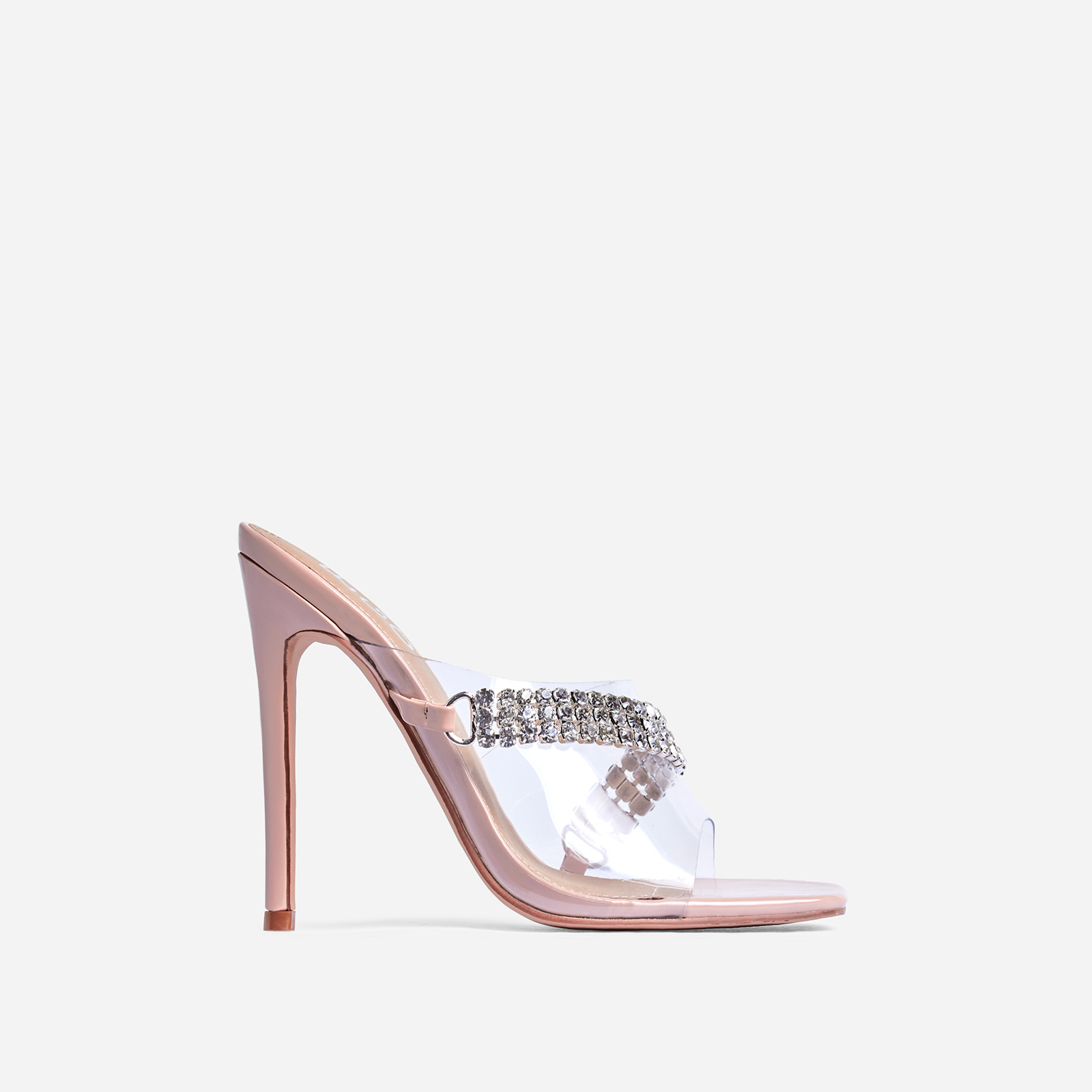 Peggy Diamante Detail Square Peep Toe Heel Mule In Nude Patent