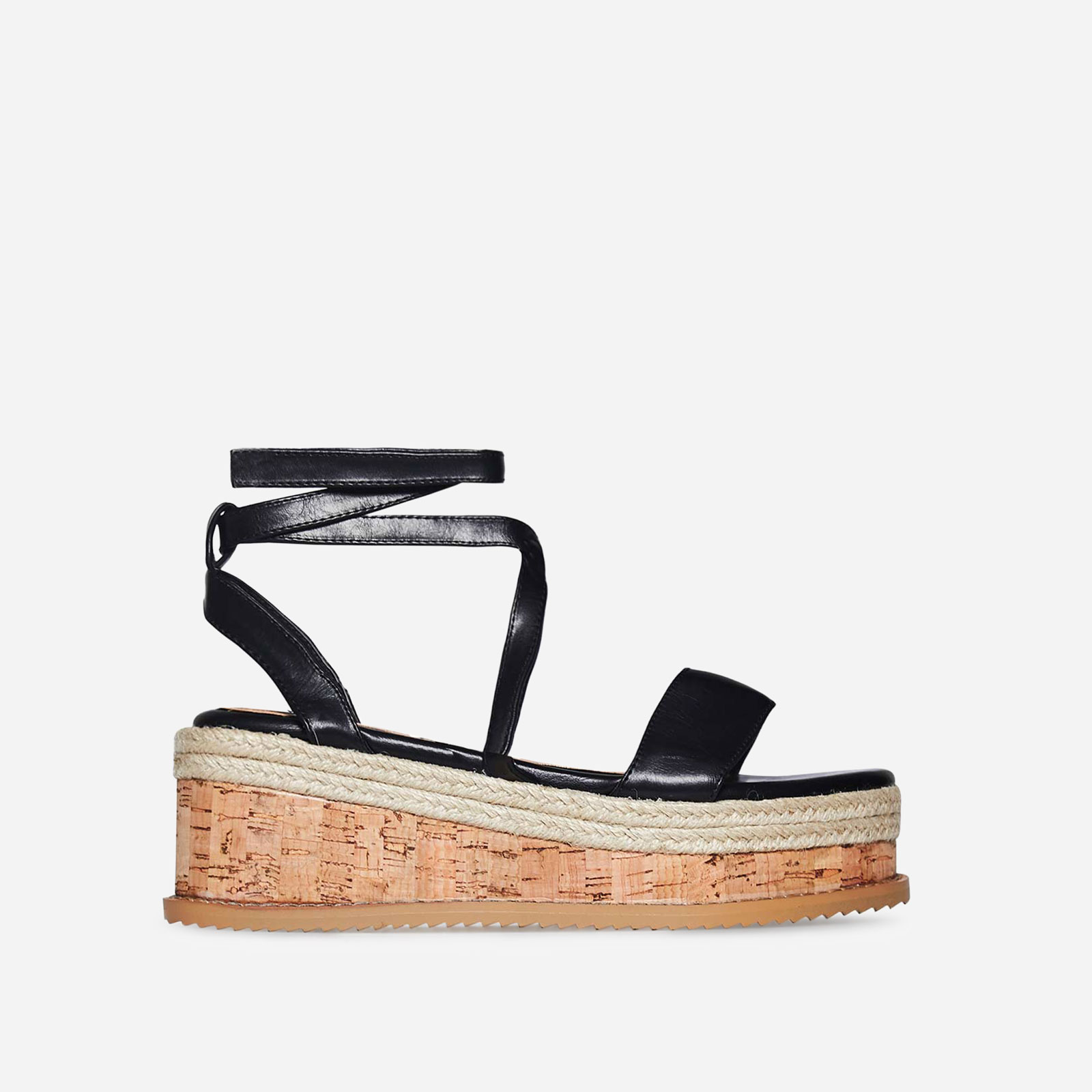 Abigail Strappy Espadrille Flatform In Black Faux Leather Image 1