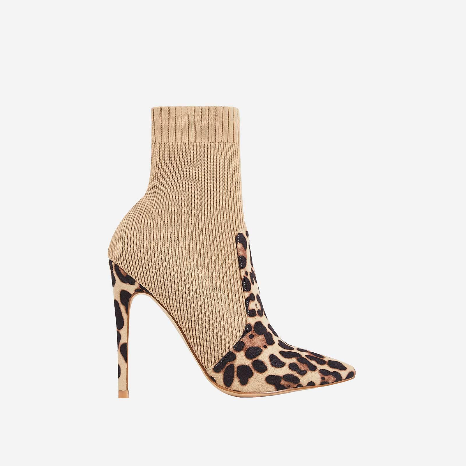 Phoenix Knitted Sock Boot In Tan Leopard Print Faux Suede